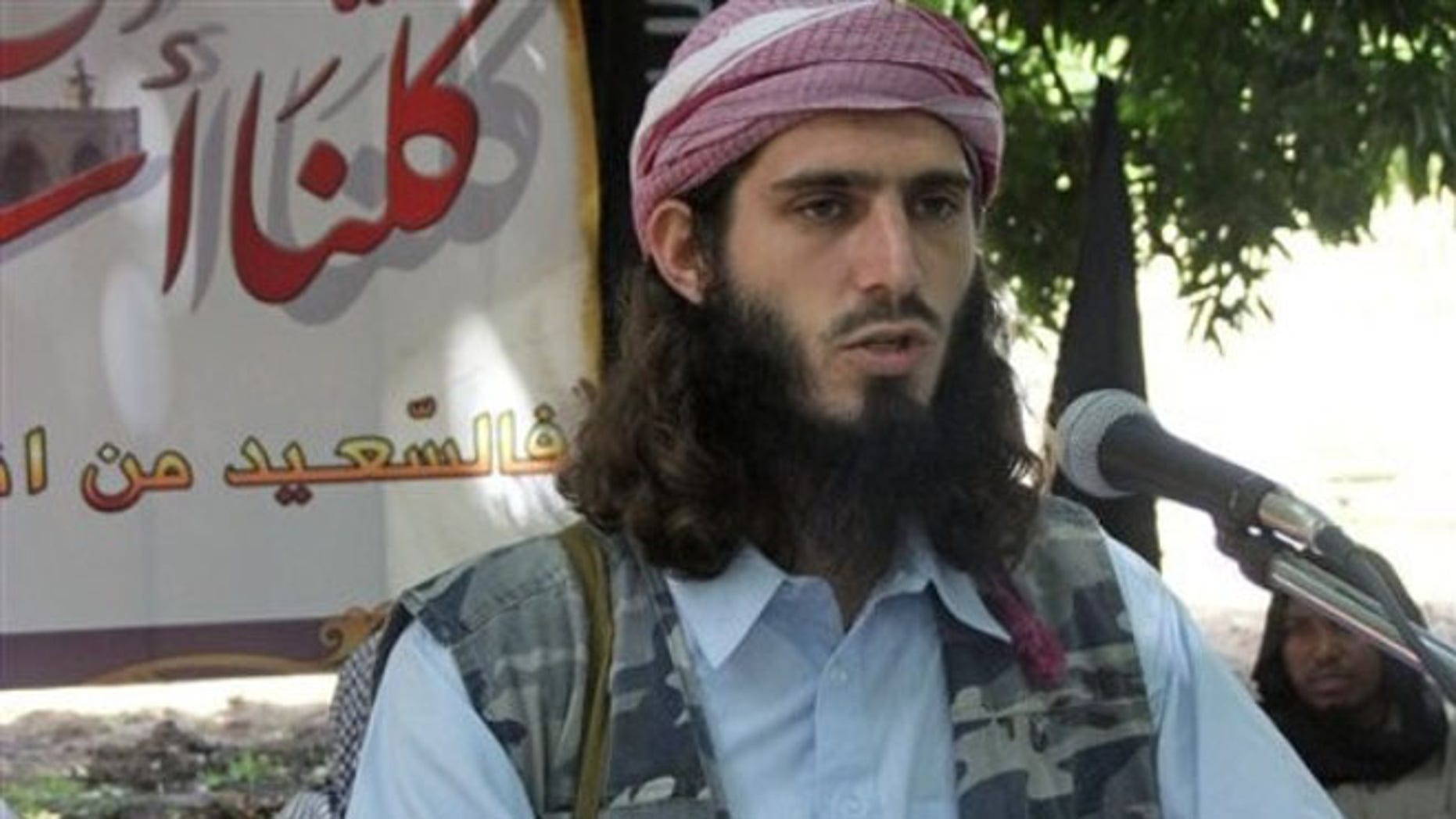 May 11, 2011: American-born Islamist militant Omar Hammami speaks during a news conference in Somalia.