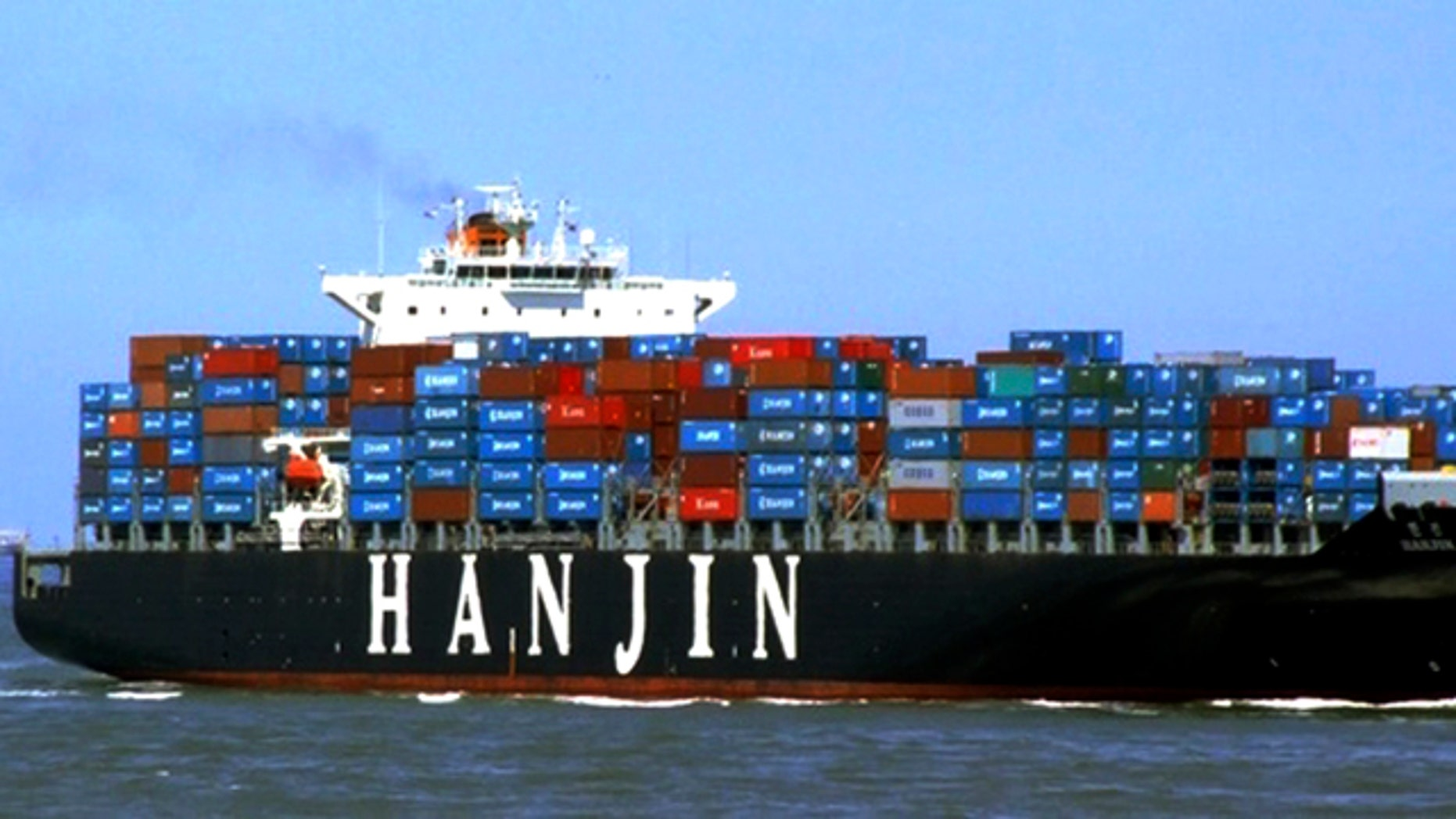 """This undated photo released by Hanjin Shipping Co., shows the container ship """"Hanjin Tianjin"""" of South Korea. South Korea said that the ship """"Hanjin Tianjin"""" may have been hijacked by pirates in the Indian Ocean. The Ministry of Foreign Affairs and Trade says Hanjin Shipping Co. lost contact with the ship Thursday morning, and the South Korean warship is on its way to the area. (AP)"""