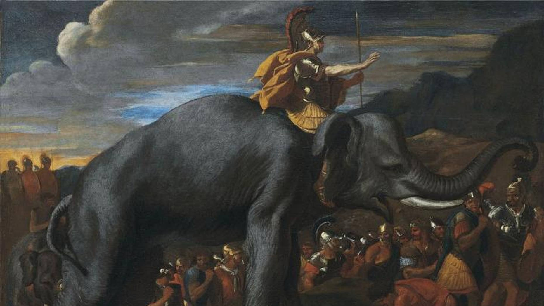 Hannibal crosses the Alps on an elephant (Public domain) (Nicolas Poussin).
