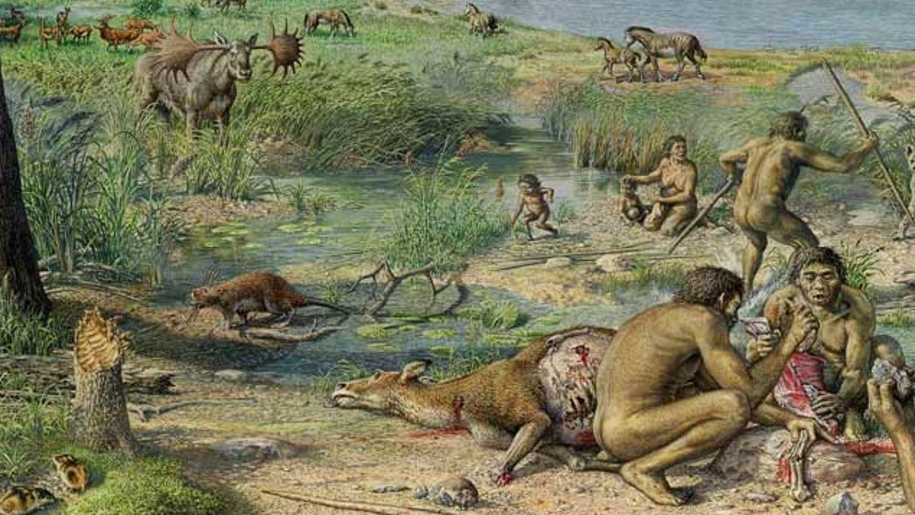 A reconstruction of prehistoric humans living around Happisburgh, UK, about 900,000 years ago.