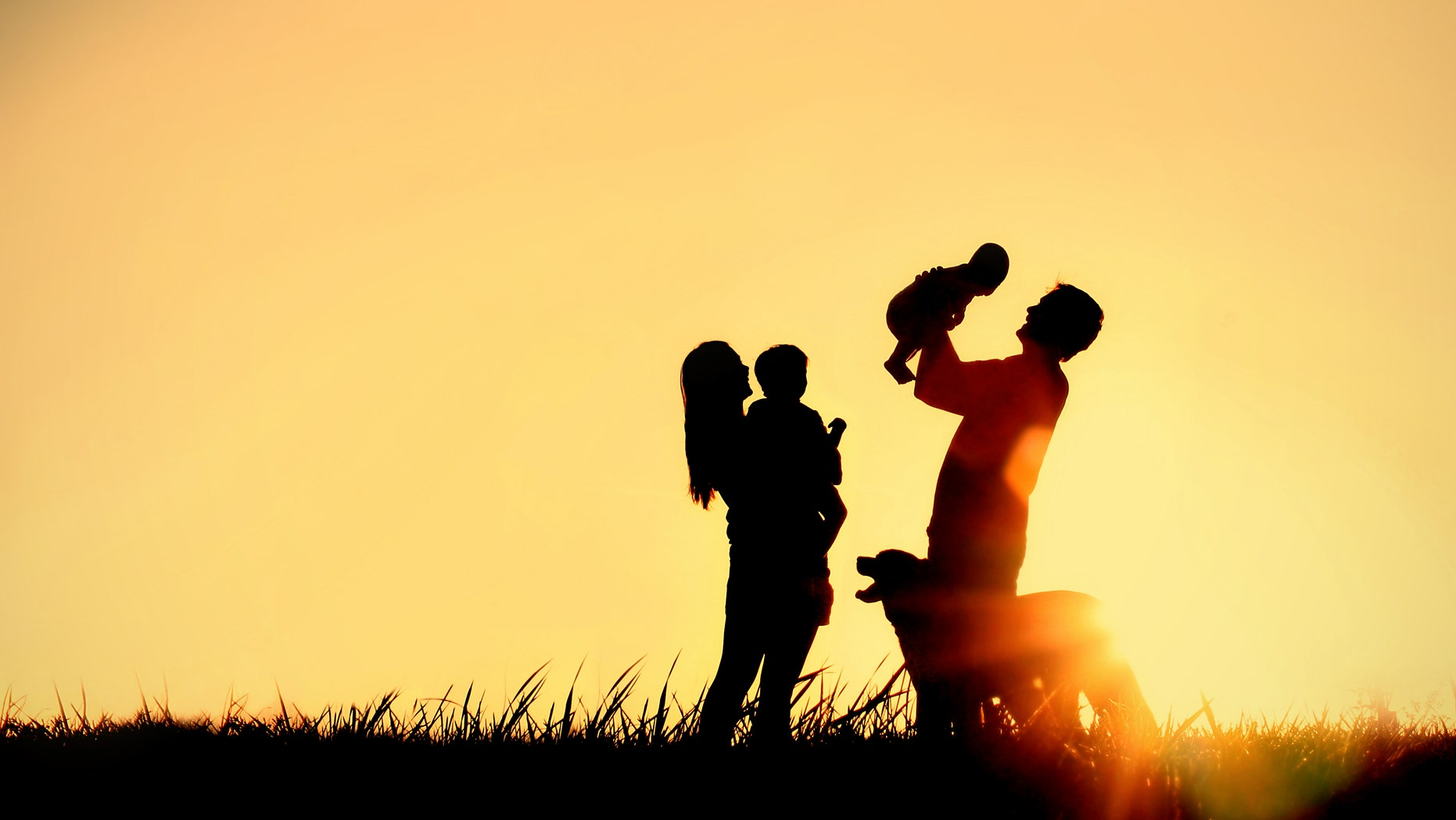 A silhouette of a happy family of four people, mother, father, baby, and child, and their dog in front of a sunsetting sky, with room for copy space or text