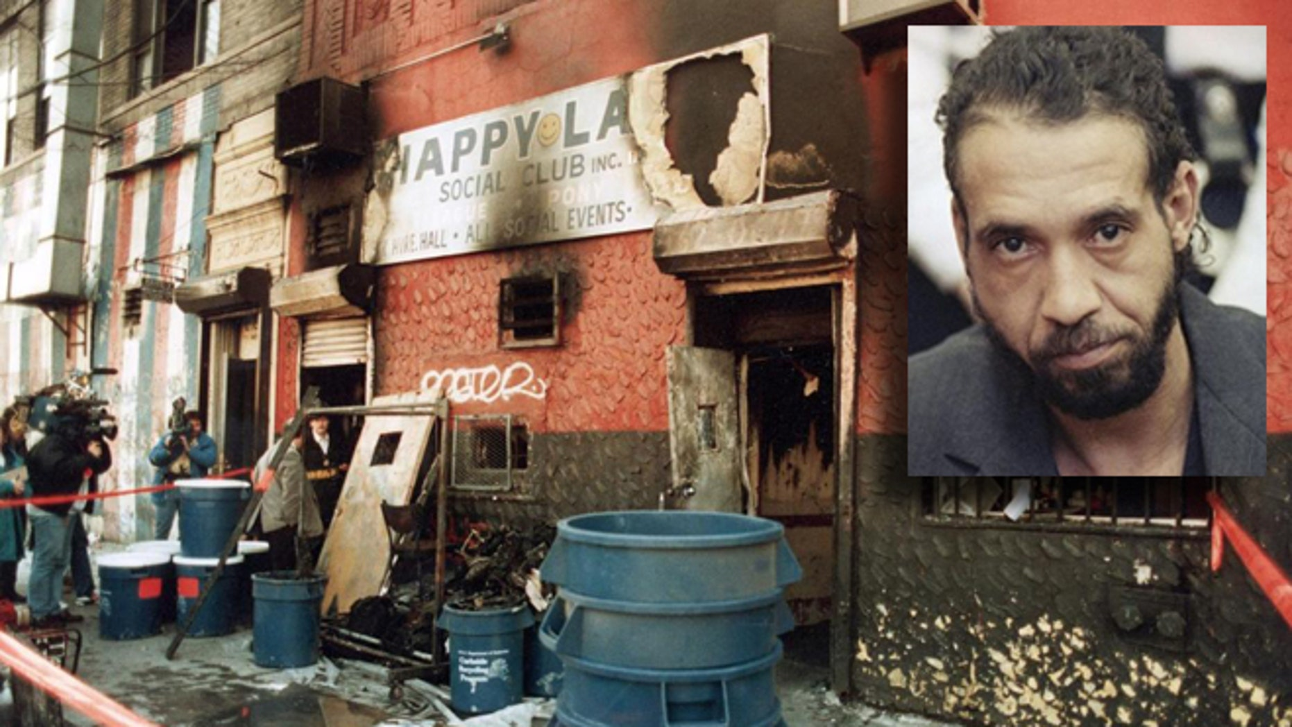 The Happy Land Social Club in the Bronx, N.Y., after the fire. Inset: Julio Gonzalez.