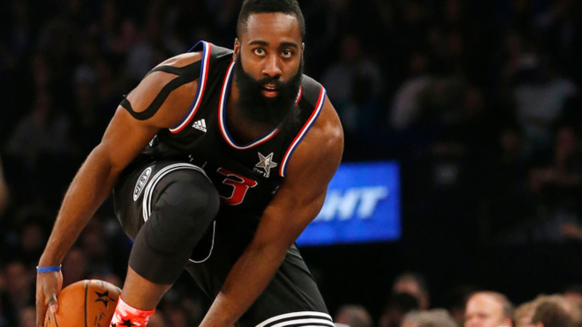 Feb. 15, 2015: West Teams James Harden, of the Houston Rockets, tries to keep the ball inbounds during the second half of the NBA All-Star basketball game, in New York.