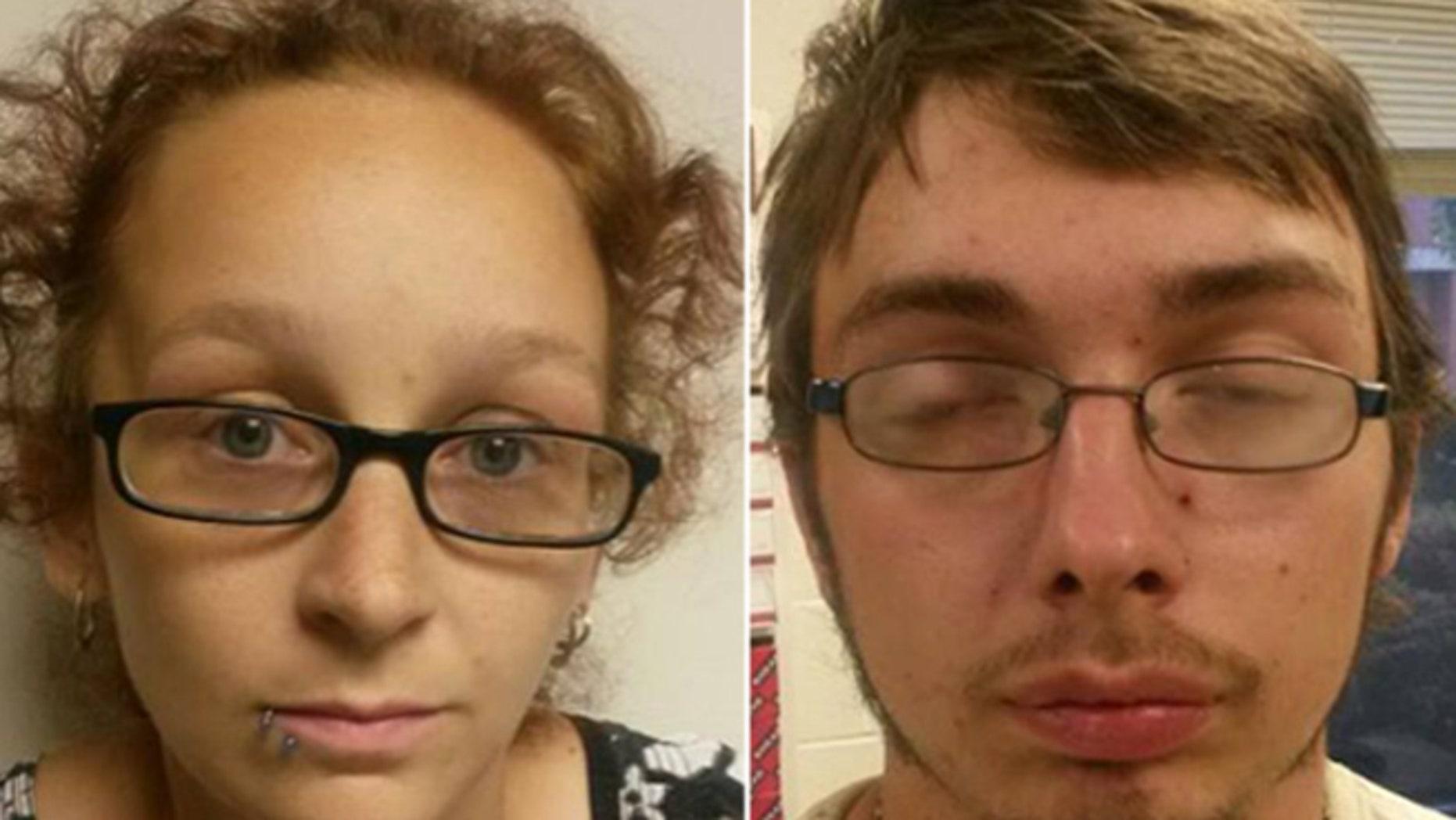Mug shots of Ashely Harmon and Jonathan Flint. (Fayette County Sheriff's Office)