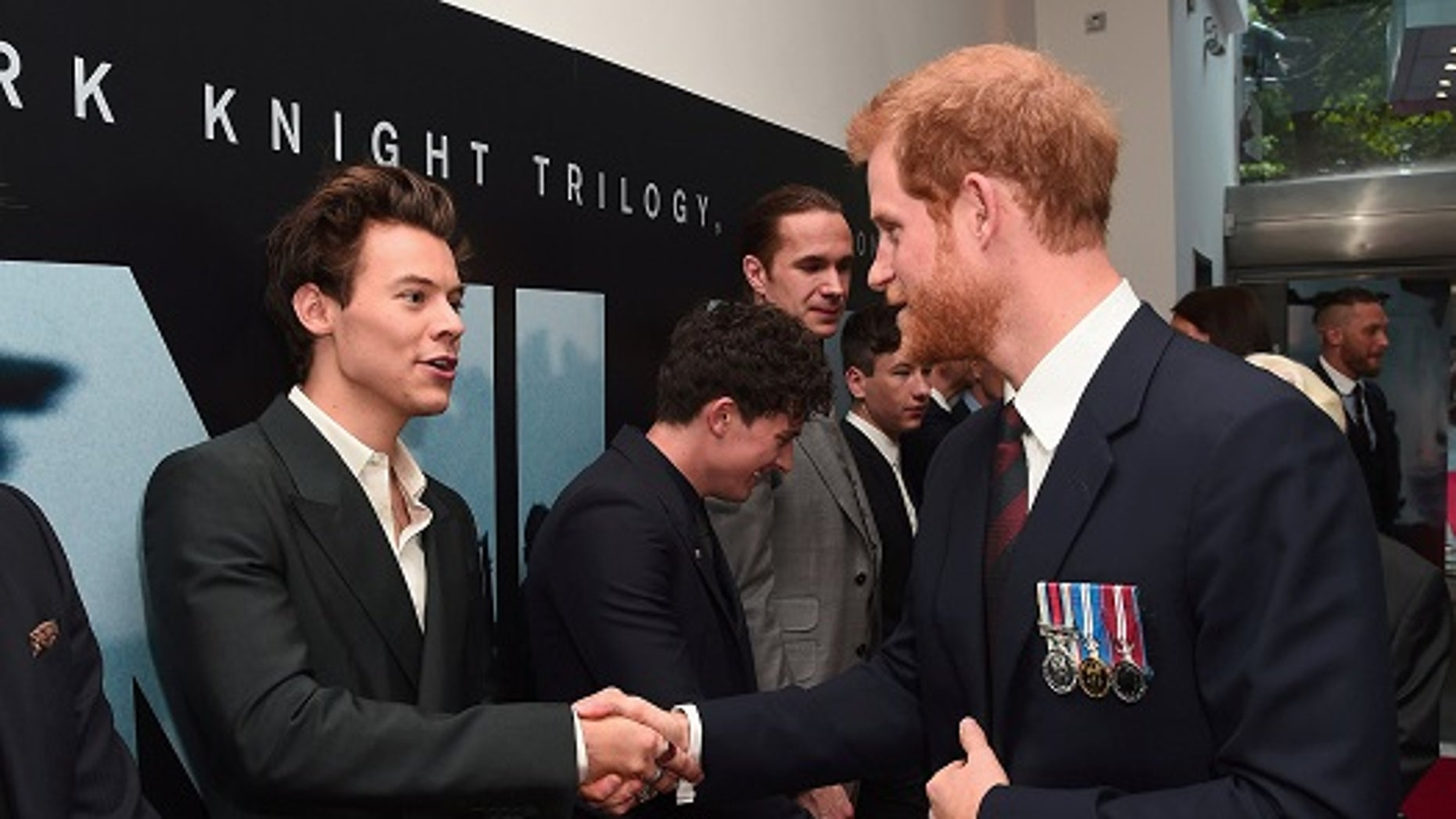"Actor/singer Harry Styles and Prince Harry meet at the ""Dunkirk"" World Premiere at Odeon Leicester Square on Thursday, July 13, 2017."