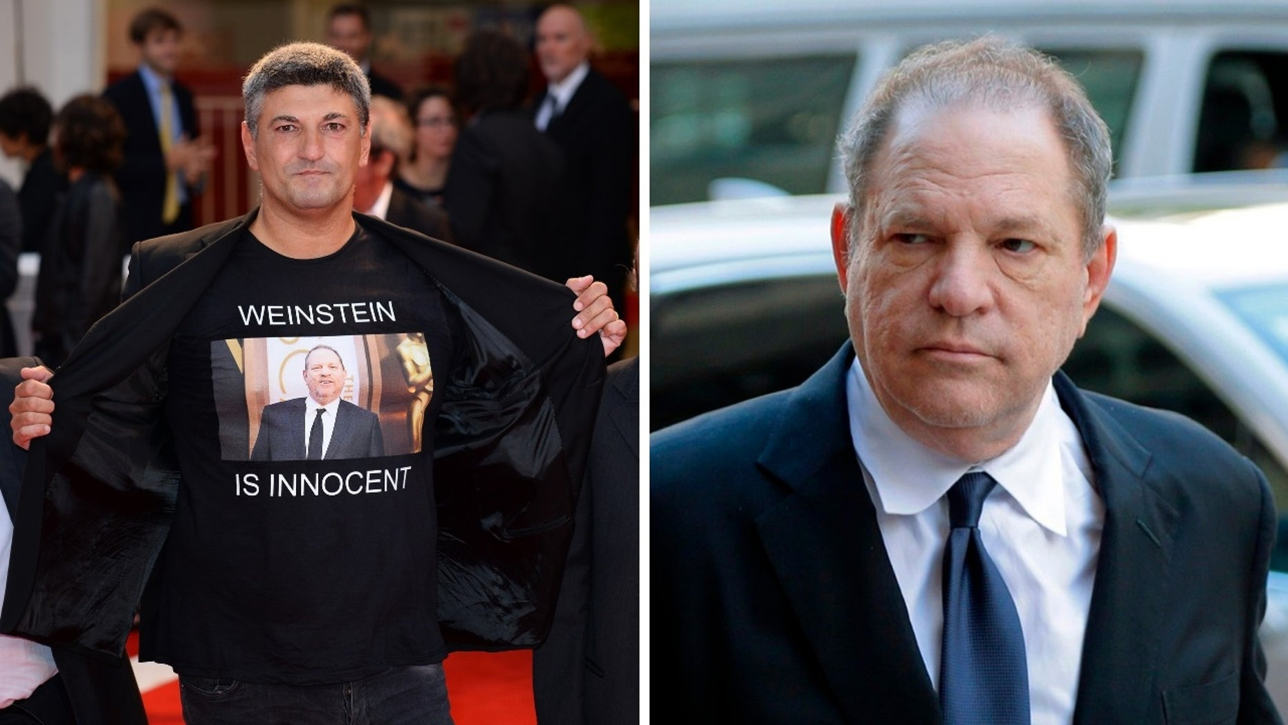 """Italian director Luciano Silighini Garagnani, left, wore a """"Weinstein is innocent"""" shirt at a film premiere Saturday. Harvey Weinstein, right, is accused of several sex assaults."""