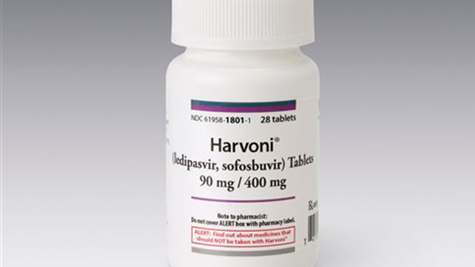 This image provided by Gilead Sciences shows a bottle of the Hepititis drug Harvoni.  Harvoni, the newest pill from California-based Gilead Sciences, accounted for more than three-fourths of the prescriptions filled for hepatitis-C drugs in the first three months of this year, according to IMS Health.