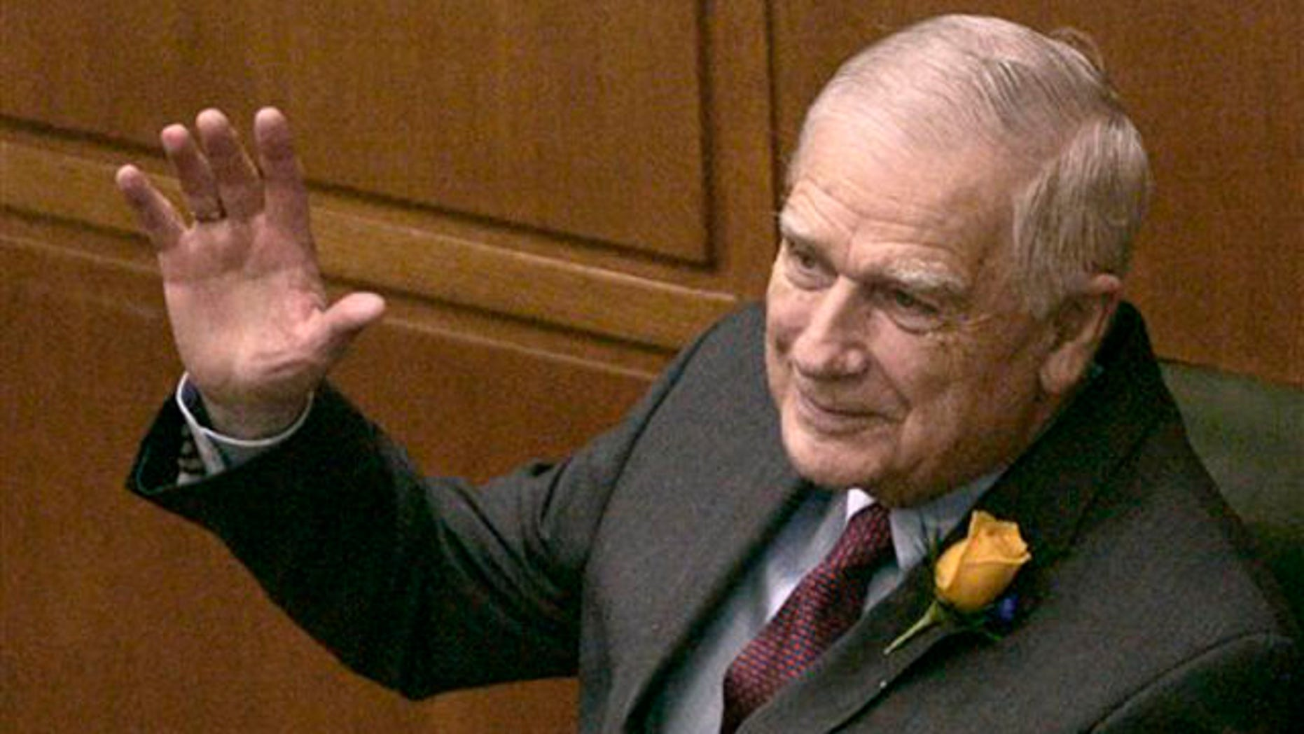 In this Jan. 8, 2007 file photo, former Oregon Sen. Mark Hatfield waves to members of the state House as the 2007 Oregon legislative session opens at the Capitol in Salem, Ore.