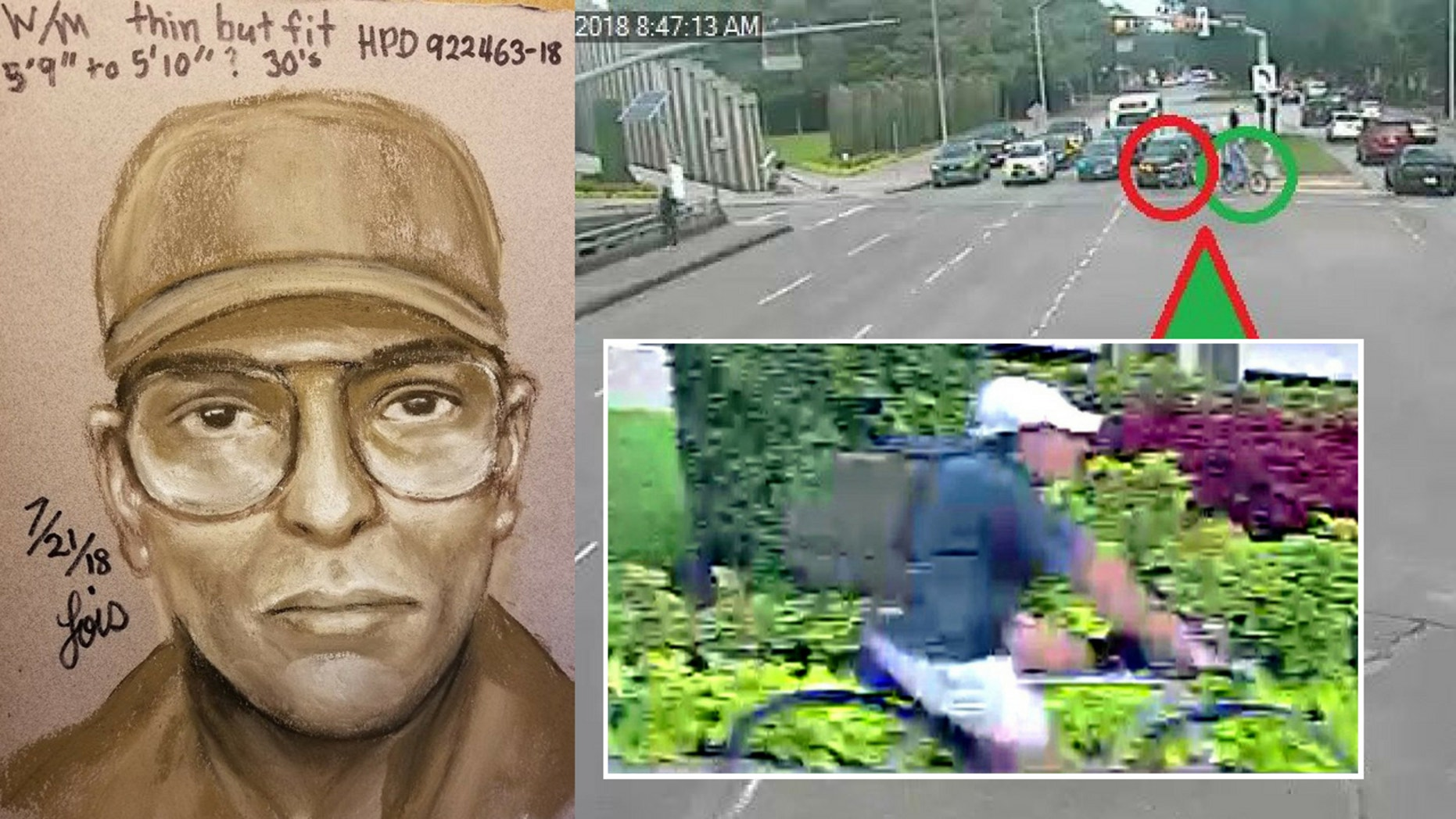 Authorities have released a sketch and surveillance images showing the suspect in Dr. Hausknecht's death.