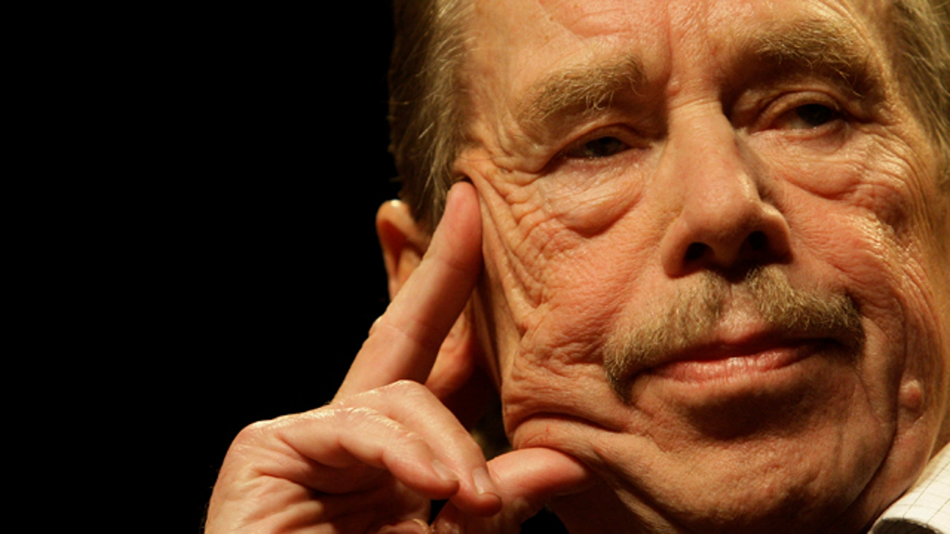 Oct. 15, 2009: File - In this file photo former Czech President Vaclav Havel is seen during a press conference on occasion of the 20th anniversary of the changes in Czechoslovakia and the fall of the Iron Curtain in Prague.