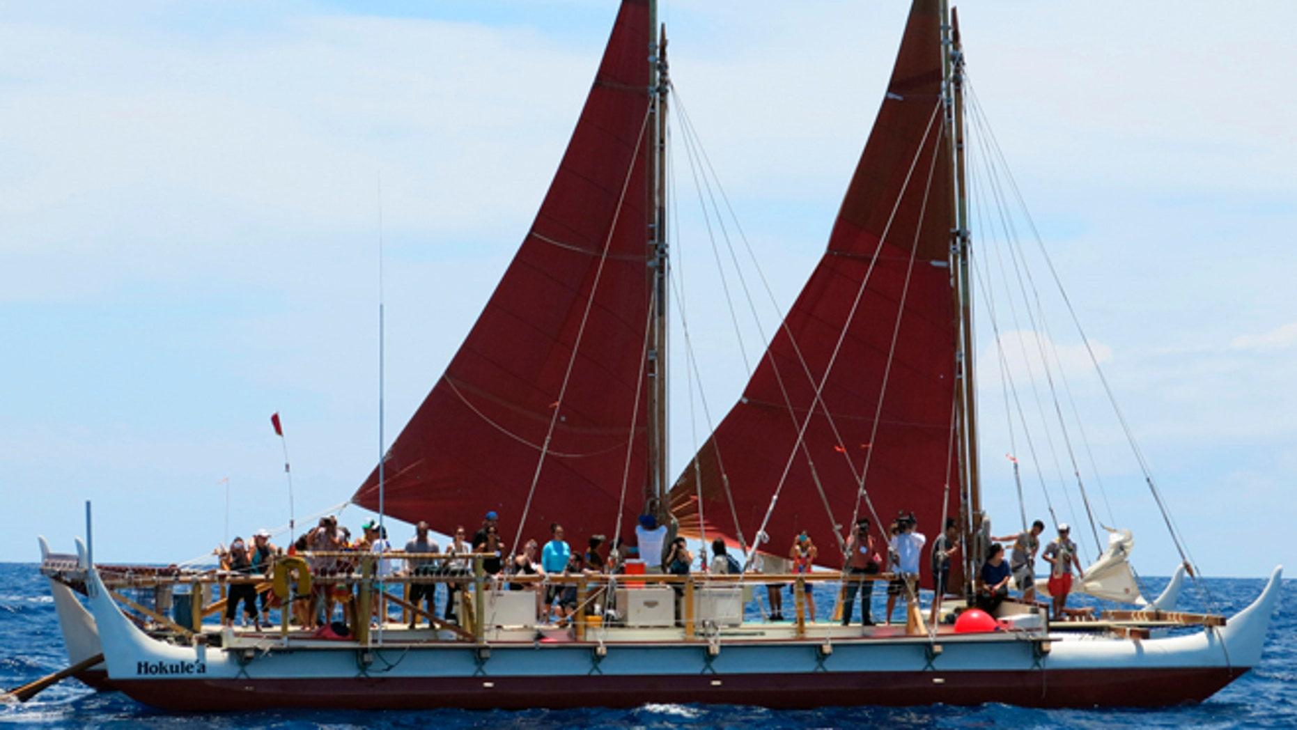 April 29, 2014: The Hokulea sailing canoe is seen off Honolulu.
