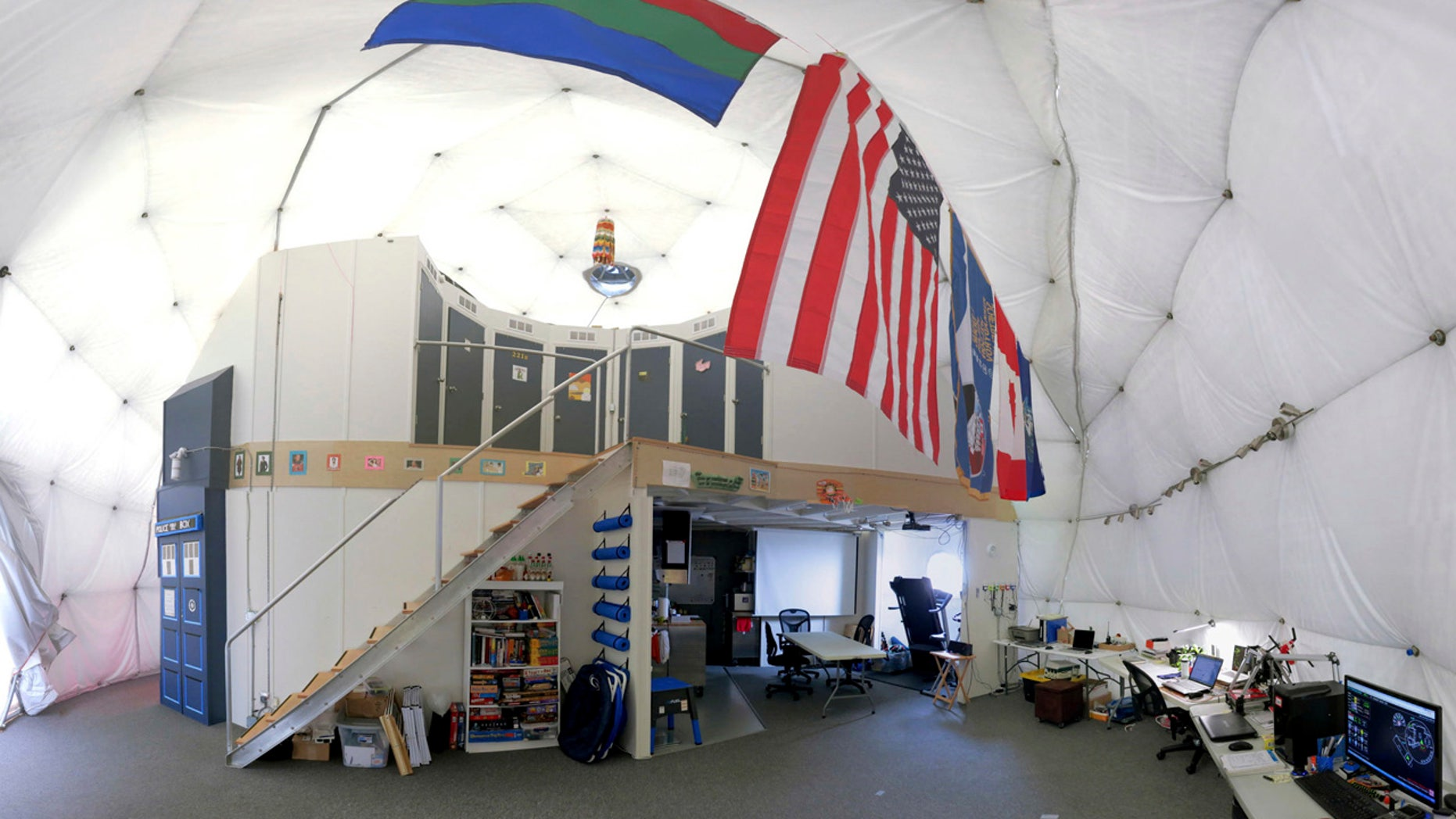 This Aug. 9, 2015 photo provided by the University of Hawaii shows the interior of the domed structure that will house six researchers for eight months in an environment meant to simulate an expedition to Mars, on Mauna Loa on the Big Island of Hawaii.