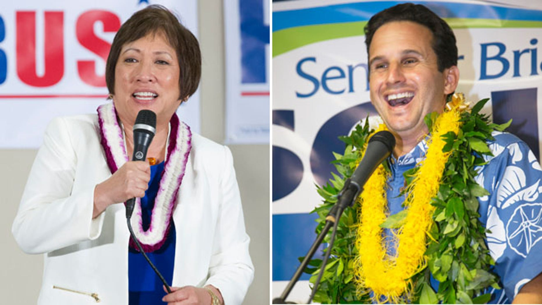 In these Aug. 9, 2014 file photos, U.S. Rep. Colleen Hanabusa, Democrat, from Hawaii's 1st district, addresses her supporters at her campaign headquarters and U.S. Sen. Brian Schatz speaks to supporters at his campaign headquarters in Honolulu.