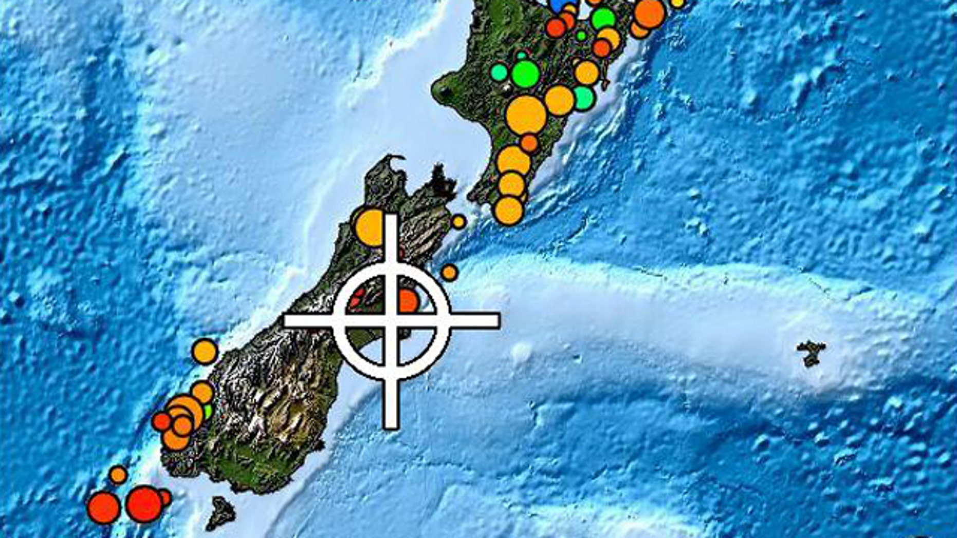 Dots indicate recent earthquakes in New Zealand, with colors and sizes showing the depth and magnitude of each.