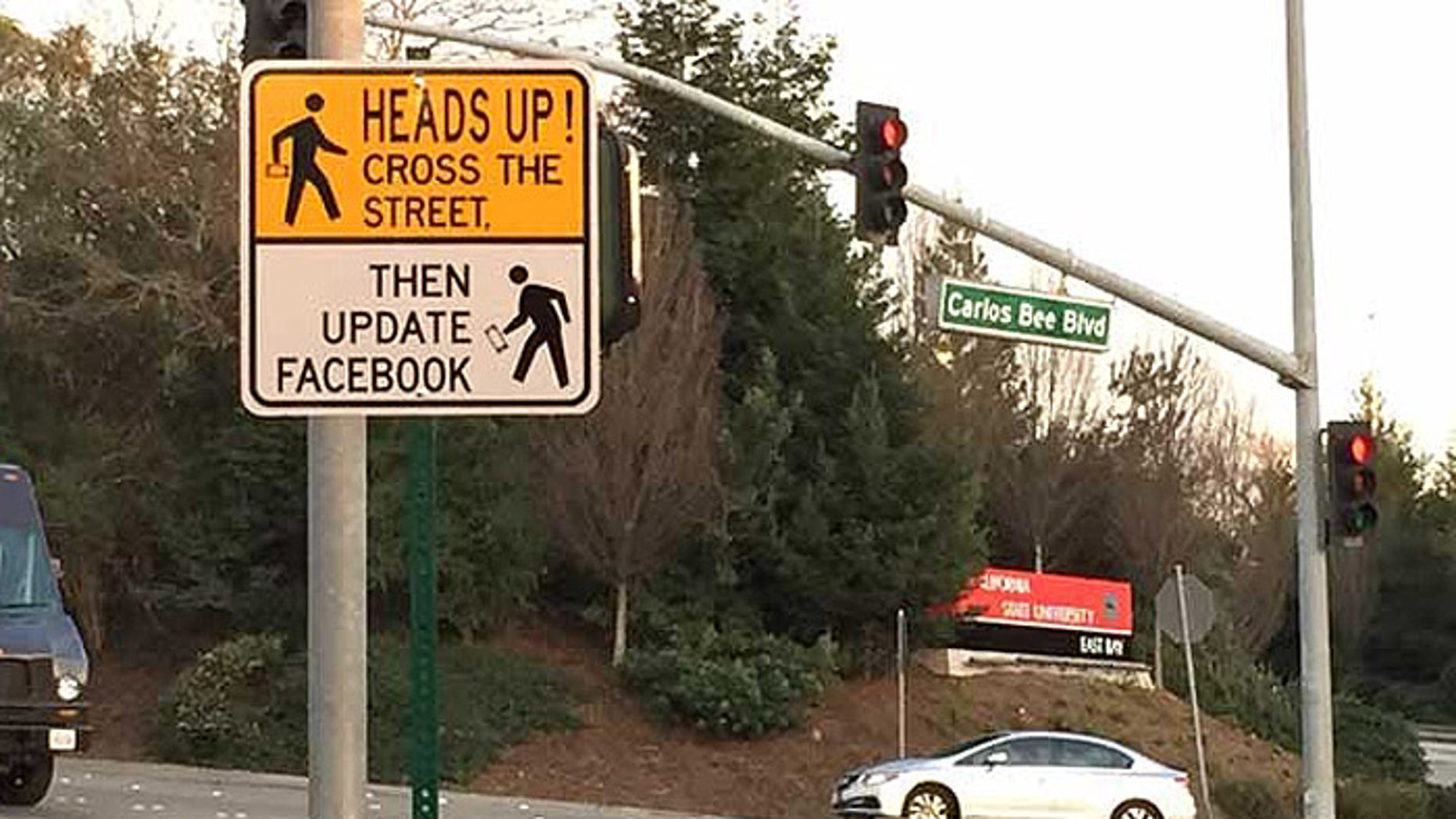 The city of Hayward, Calif., takes safety seriously, but still has a sense of humor. (Courtesy: KTVU)