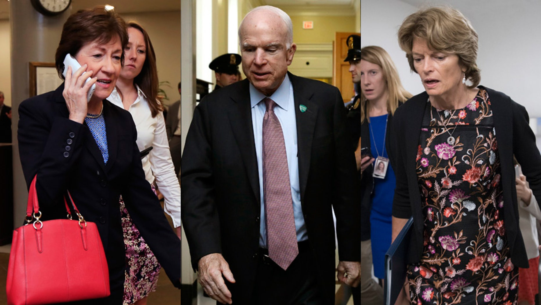 Sens. Susan Collins, left; John McCain, center; and Lisa Murkowski, R-Alaska, are considered critical to the fate of the latest GOP health care bill.