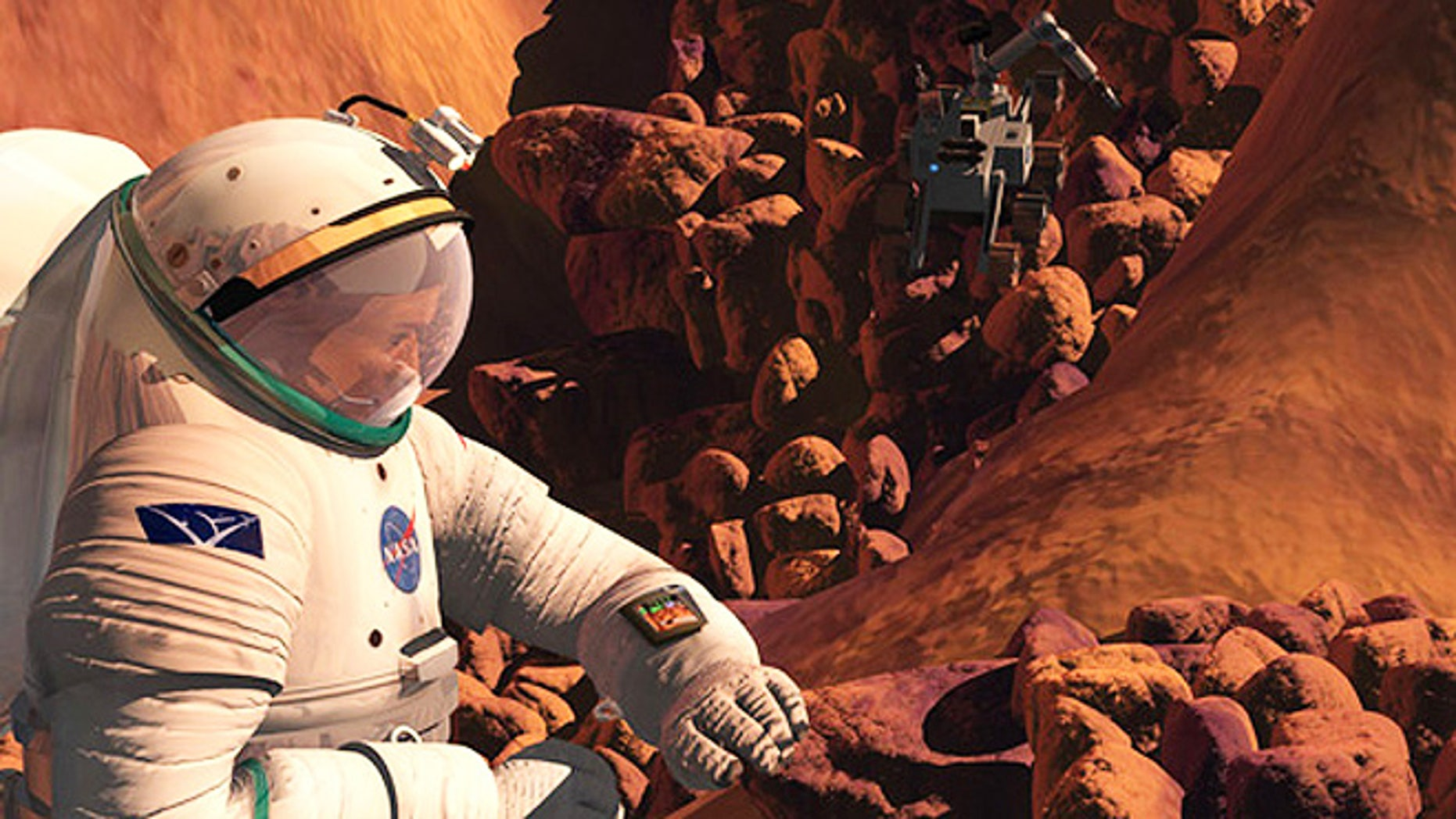 In this artist's concept of the future, an astronaut gathers samples on the surface of Mars, while a robotic explorer stands by to help.