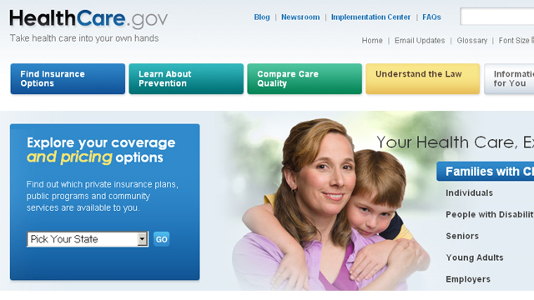 Shown here is the Healthcare.gov website.