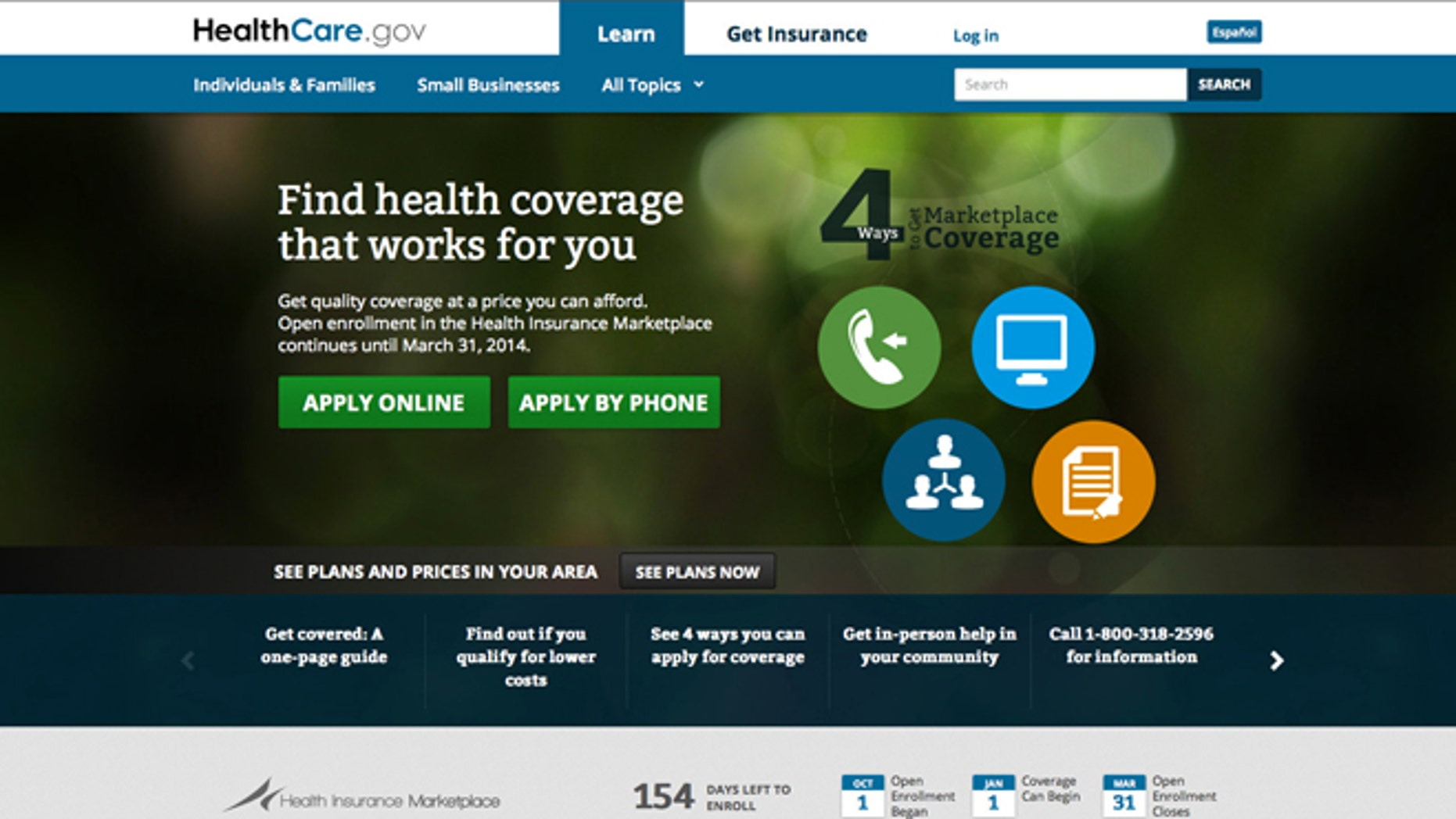 Main landing web page for HealthCare.gov.
