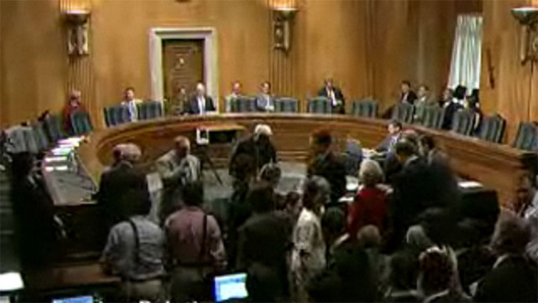 Shown here is the Senate Foreign Relations Committee hearing room on Aug. 2, as Sen. Bob Casey, center, prepares to question U.S. envoy to Syria Robert Ford.