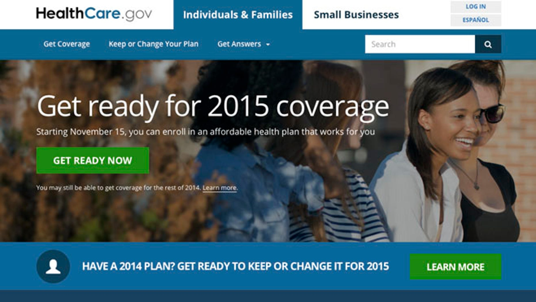 Oct. 8, 2014: This image shows the website for updated HealthCare,gov, a federal government website managed by the U.S. Centers for Medicare & Medicaid Service