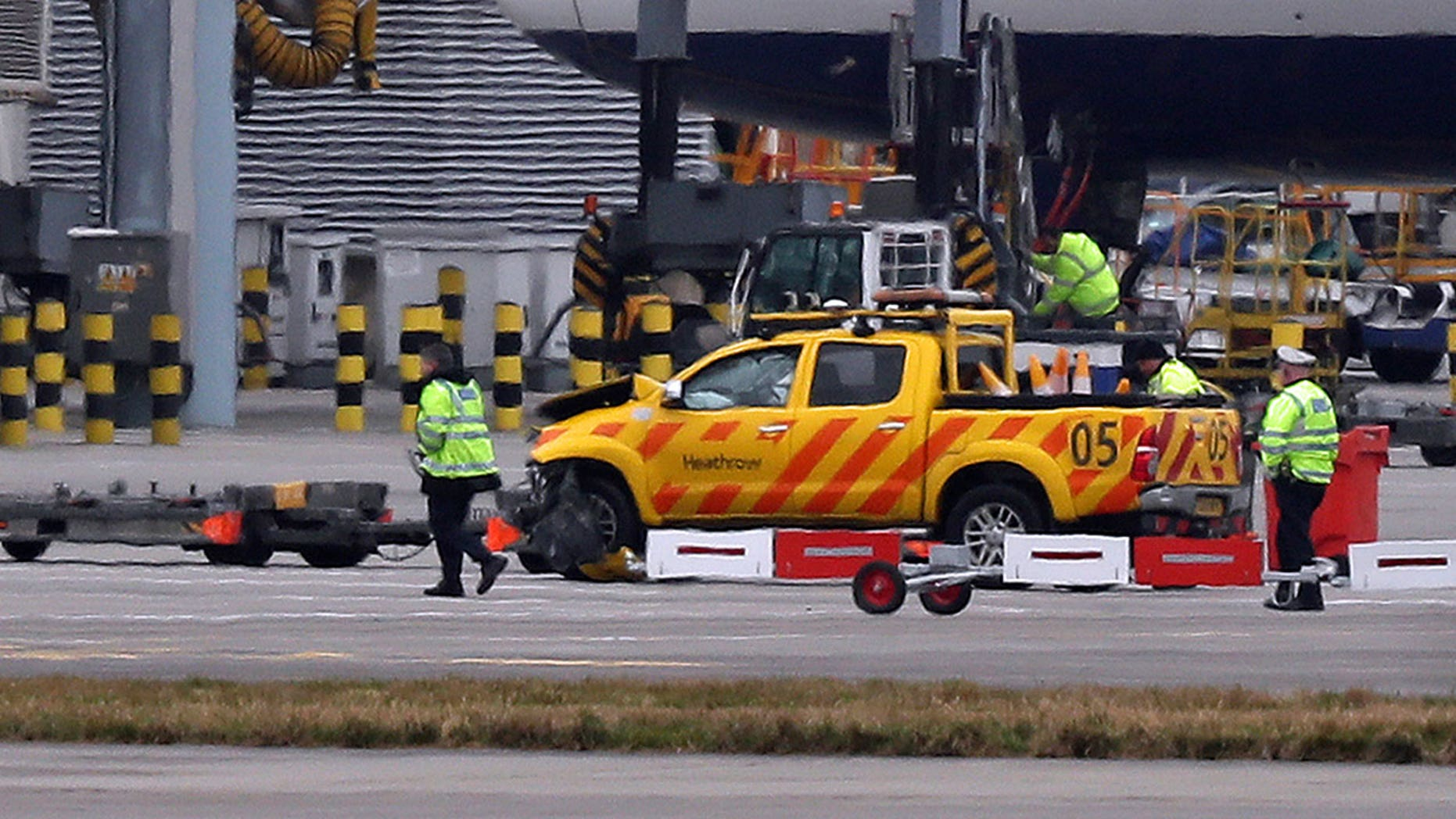 The two men were injured after the vehicles collided on the airfield, Heathrow confirmed. One suffered non-life-threatening injuries, the other died after being rushed to the hospital.