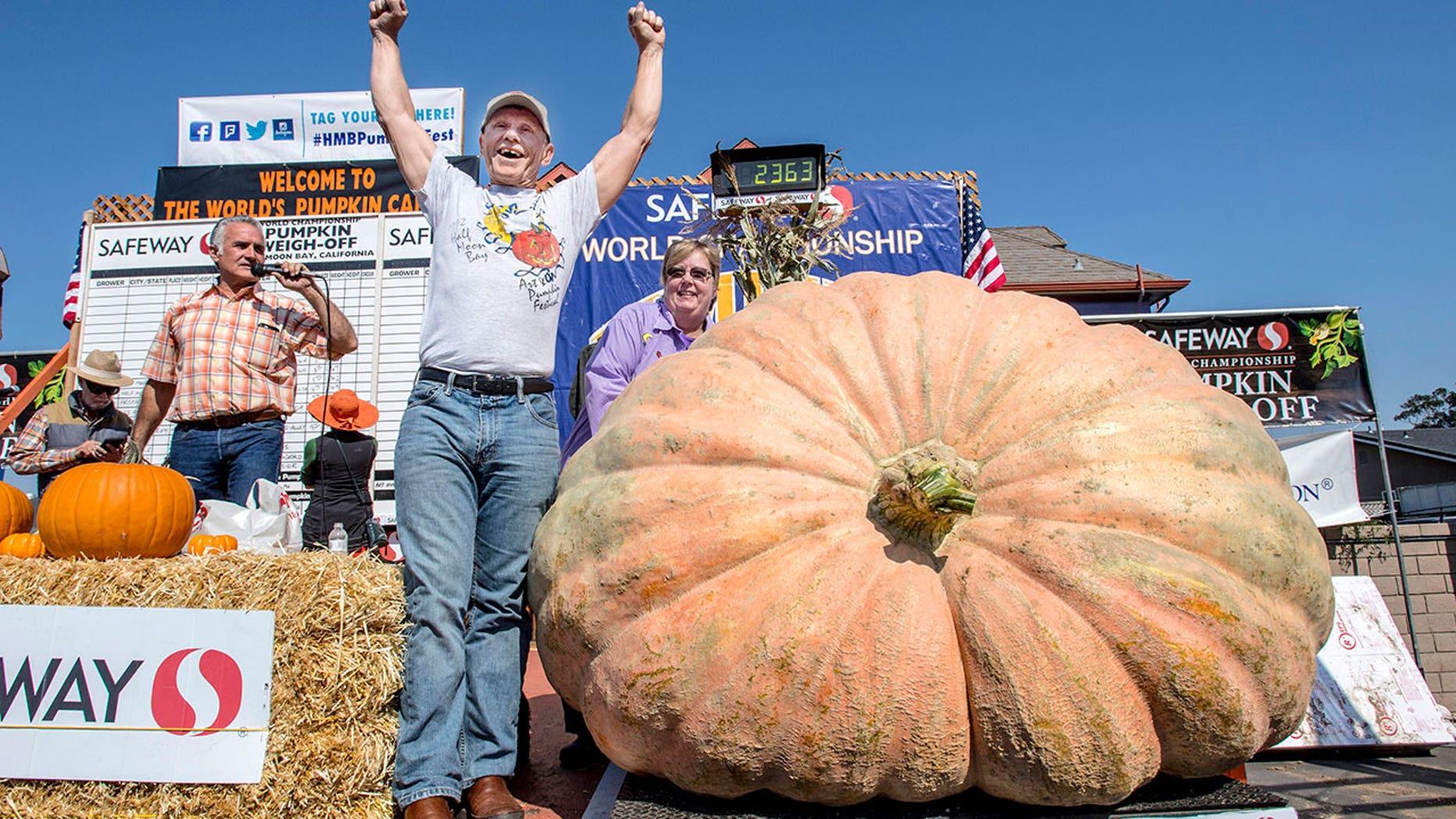 Joel Holland won the 44th World Championship Pumpkin Weigh-Off in Half Moon Bay, Calif., on Monday, Oct. 9, 2017.