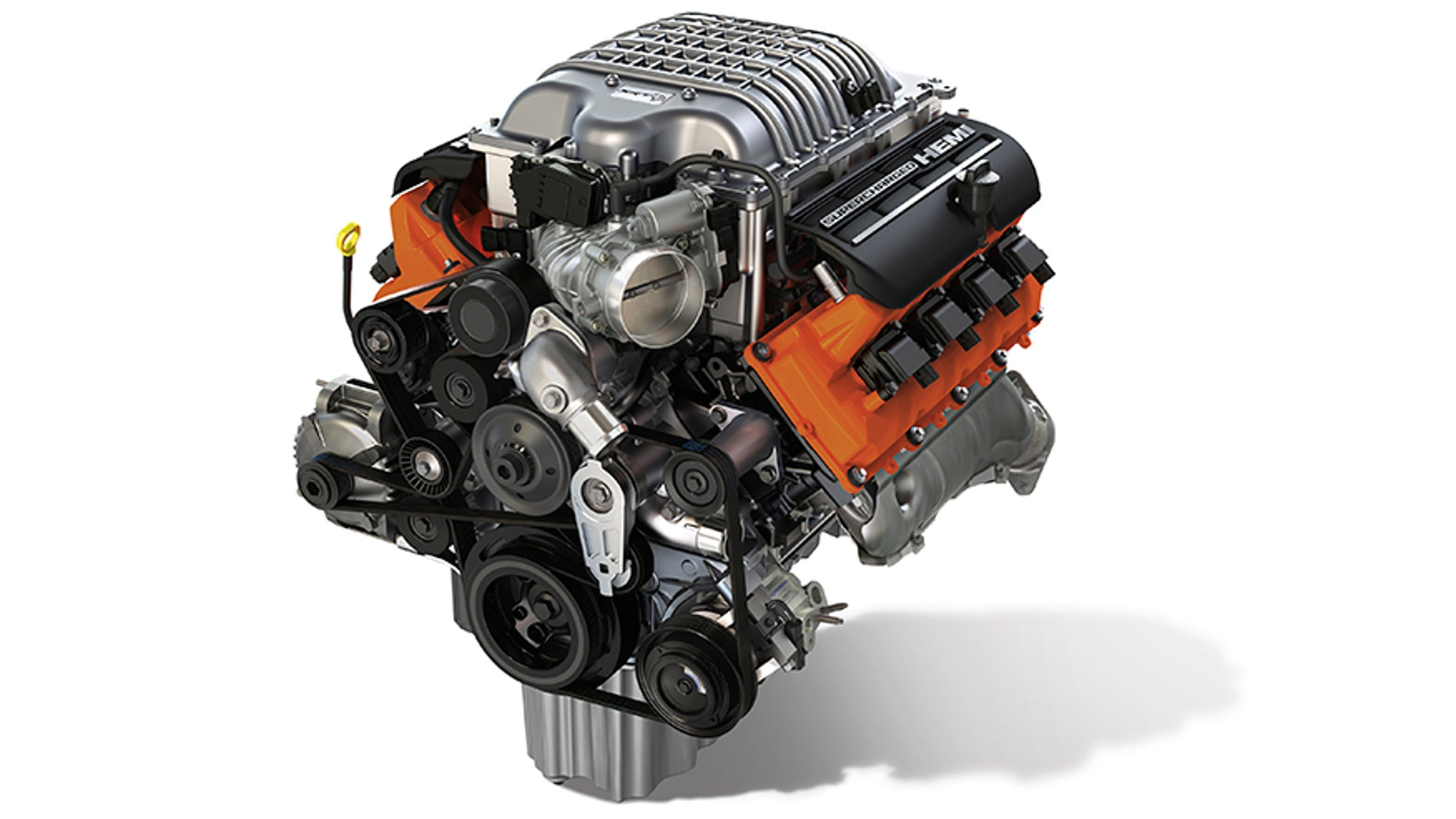 "The new Mopar ""Hellcrate"" HEMI® Engine kit provides relatively simple ""plug and play"" with the 6.2L supercharged Crate HEMI® Engine assembly (pictured), which is also available from Mopar."