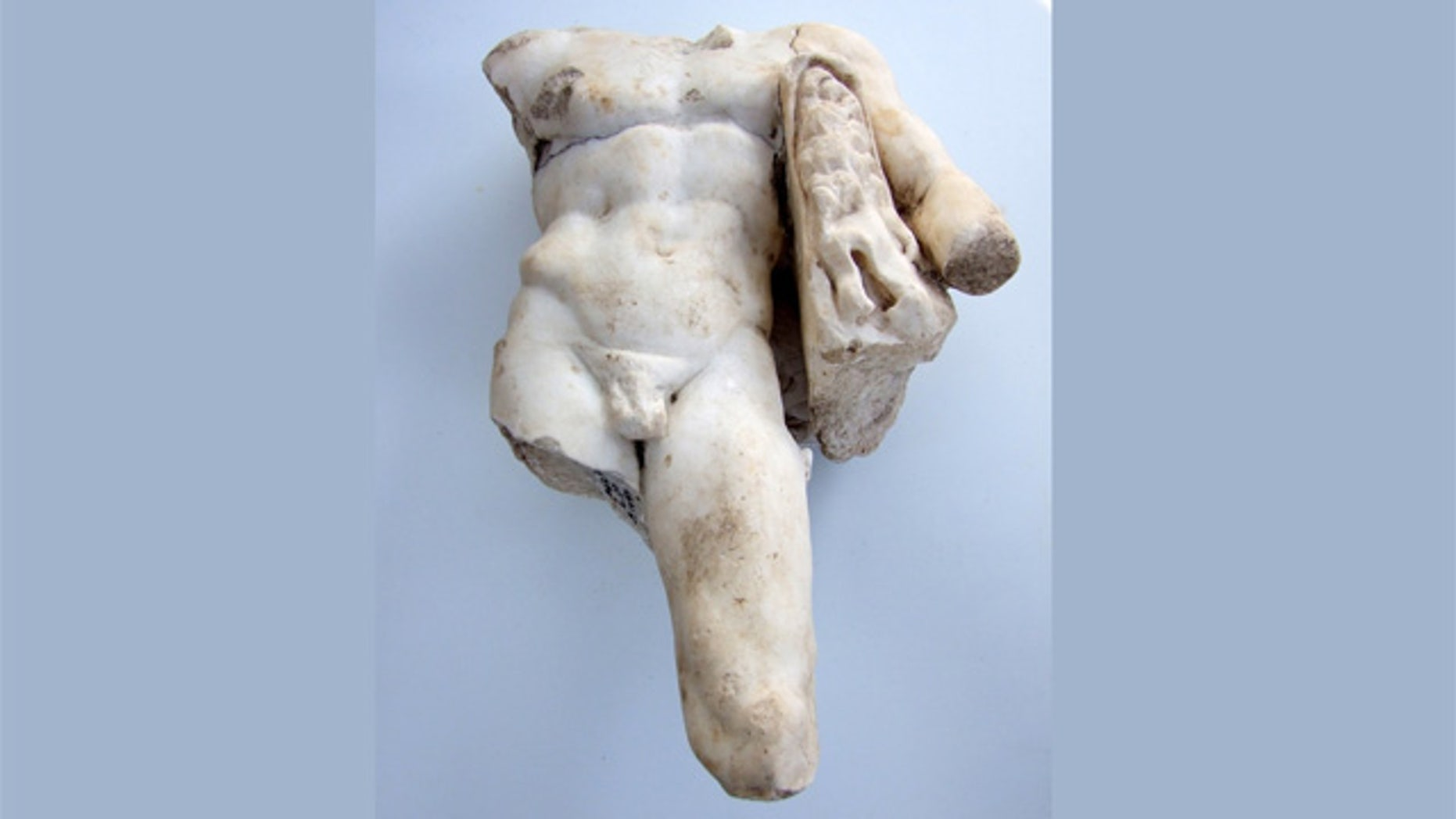 A marble statue of Hercules found at the site of a Roman bathhouse in Israel on Aug. 15.