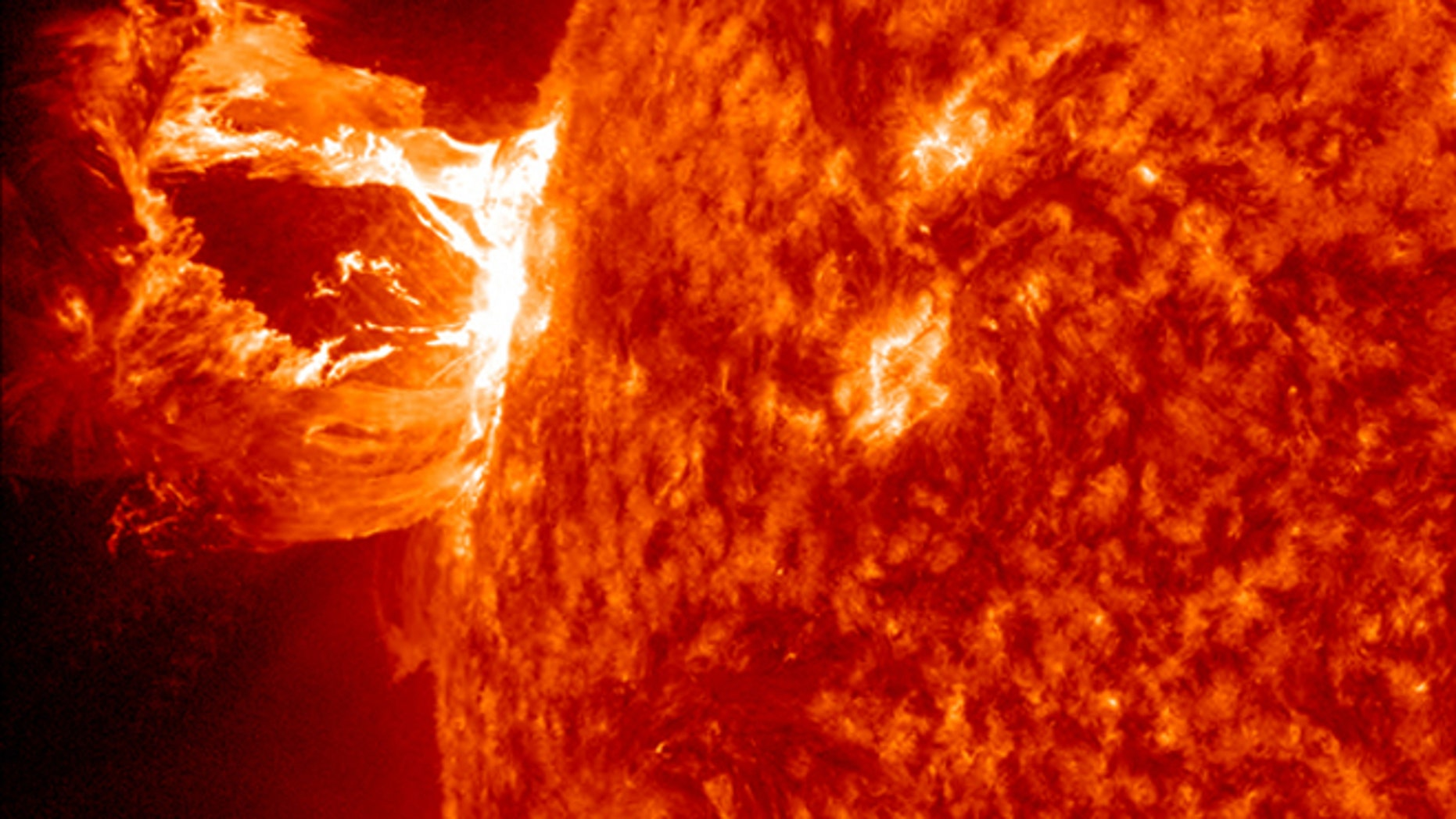 Apr. 16, 2012: A beautiful prominence eruption shot off the east limb (left side) of the sun on Monday. This view of the flare was recorded by NASA's Solar Dynamics Observatory.