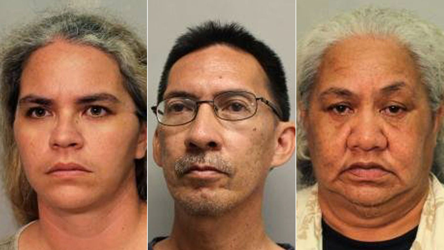 This booking photo released by Hawai'i Police Department shows Tiffany Stone (left), Kevin Lehano (center) and Henrietta Stone (right) on Friday, July 14, 2017, on Hawaii's Big Island.
