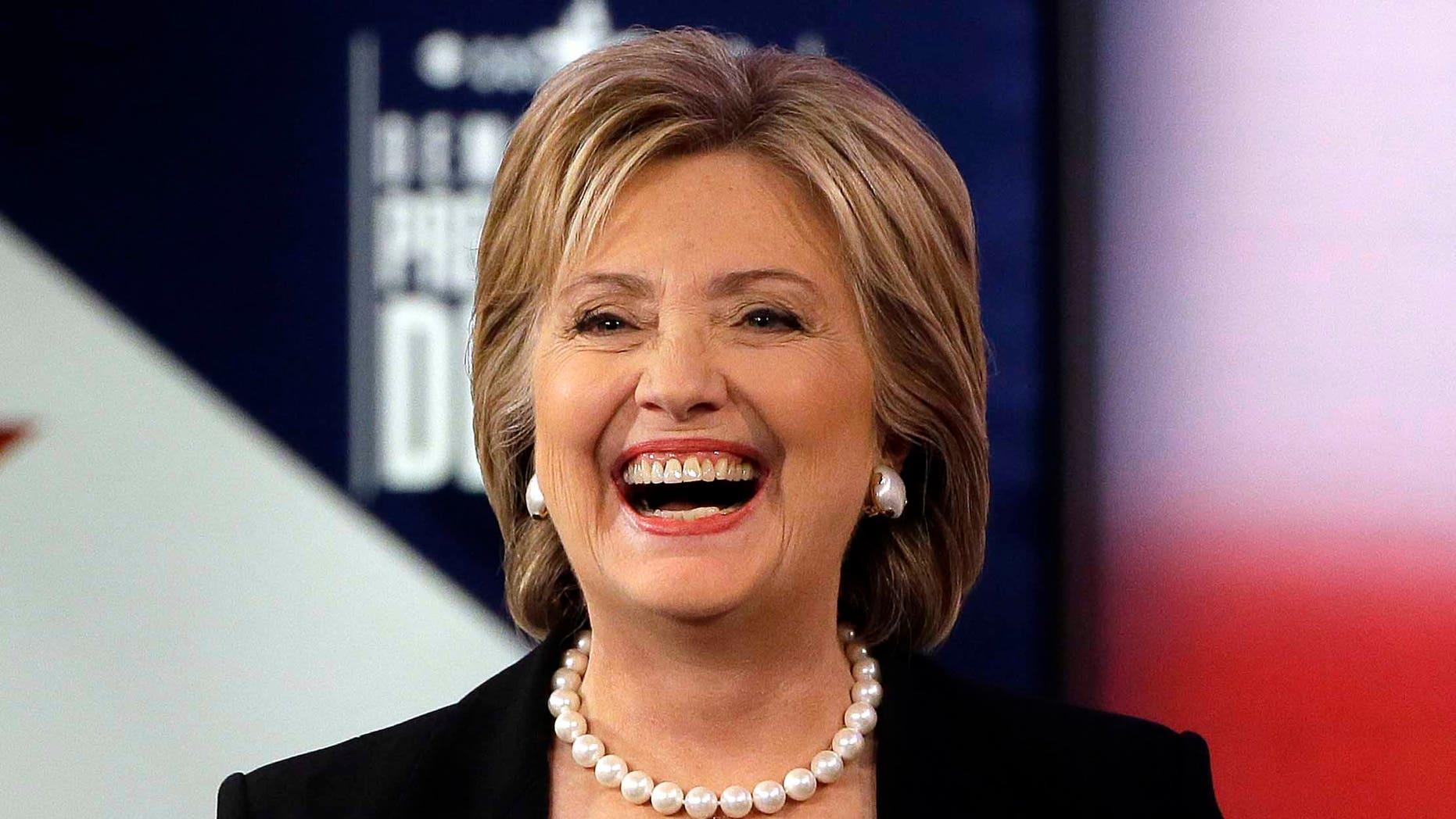 Hillary Clinton during a commercial break at a Democratic presidential primary debate, Saturday, Nov. 14, 2015, in Des Moines, Iowa.