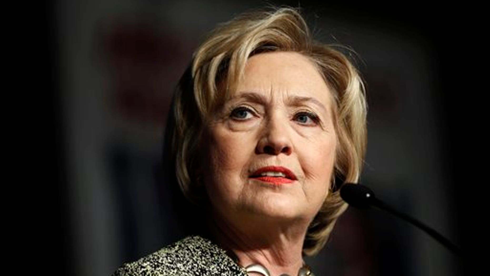 FILE -- April 6, 2016: Democratic presidential candidate Hillary Clinton speaks at the Pennsylvania AFL-CIO Convention in Philadelphia. (AP Photo/Matt Rourke)