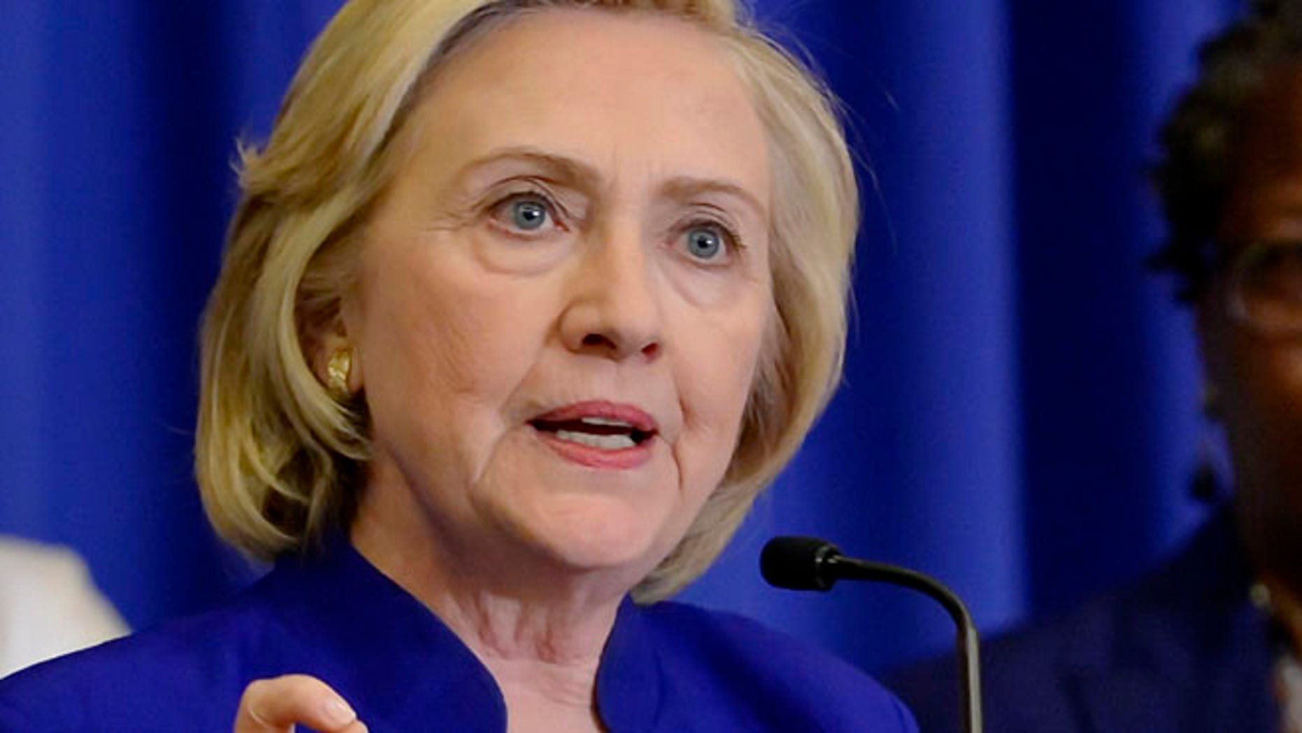May 27, 2015:  Democratic presidential candidate, former Secretary of State Hillary Rodham Clinton speaks in Columbia, S.C. (AP)