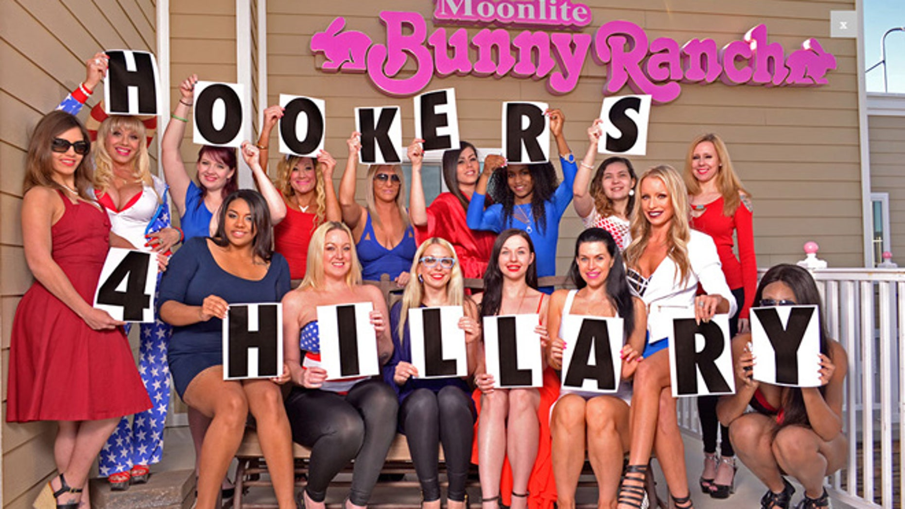 Shown here are Hillary Clinton supporters at Moonlite Bunny Ranch, in Carson City, Nev. (Photo Courtesy Of www.BunnyRanch.com)