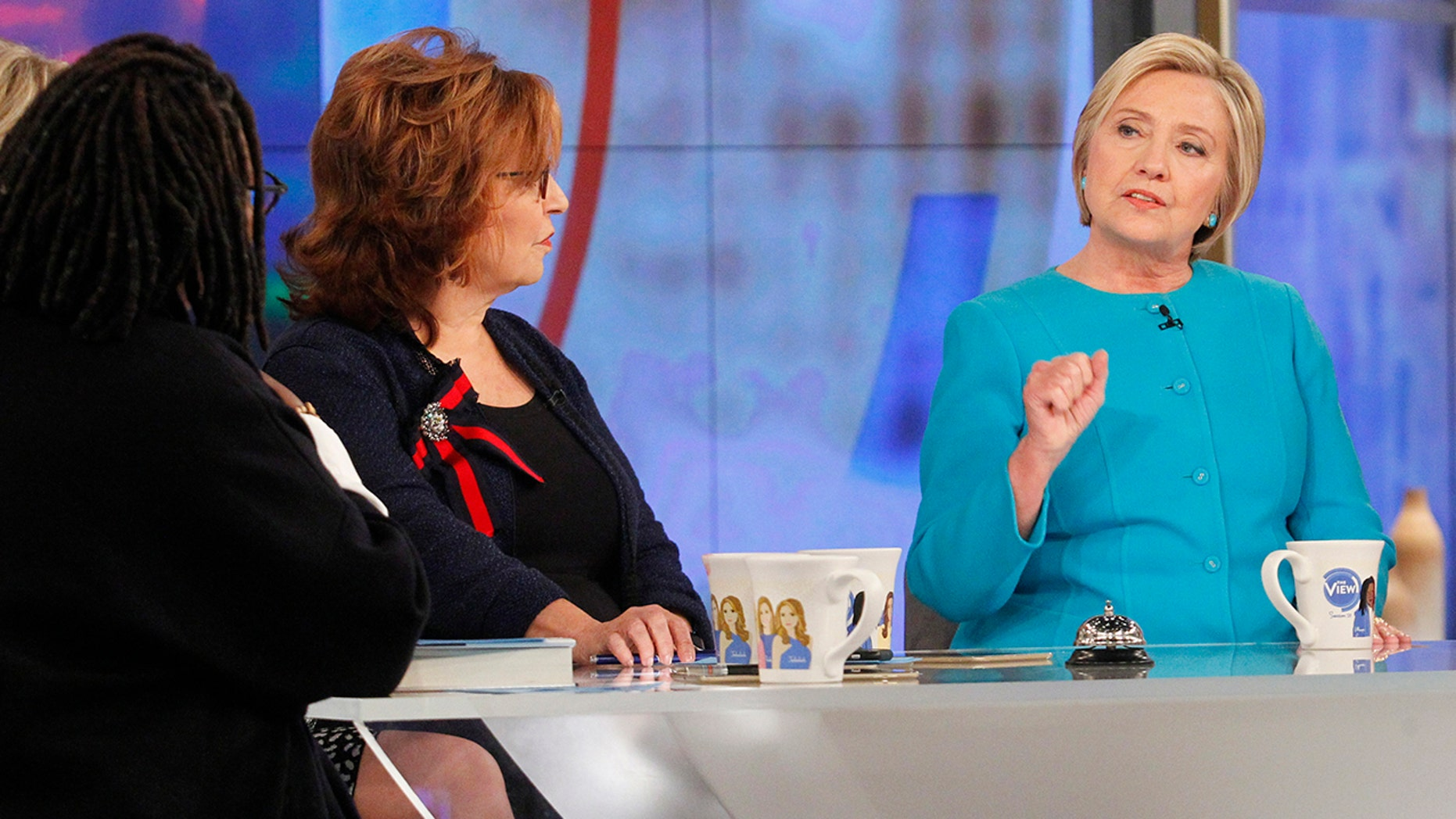 """THE VIEW - Hillary Clinton is the guest Wednesday, September 13, 2017 on ABC's """"The View.""""    """"The View"""" airs Monday-Friday (11:00 am-12:00 pm, ET) on the ABC Television Network.    (ABC/Lou Rocco)  WHOOPI GOLDBERG, JOY BEHAR, HILLARY CLINTON"""