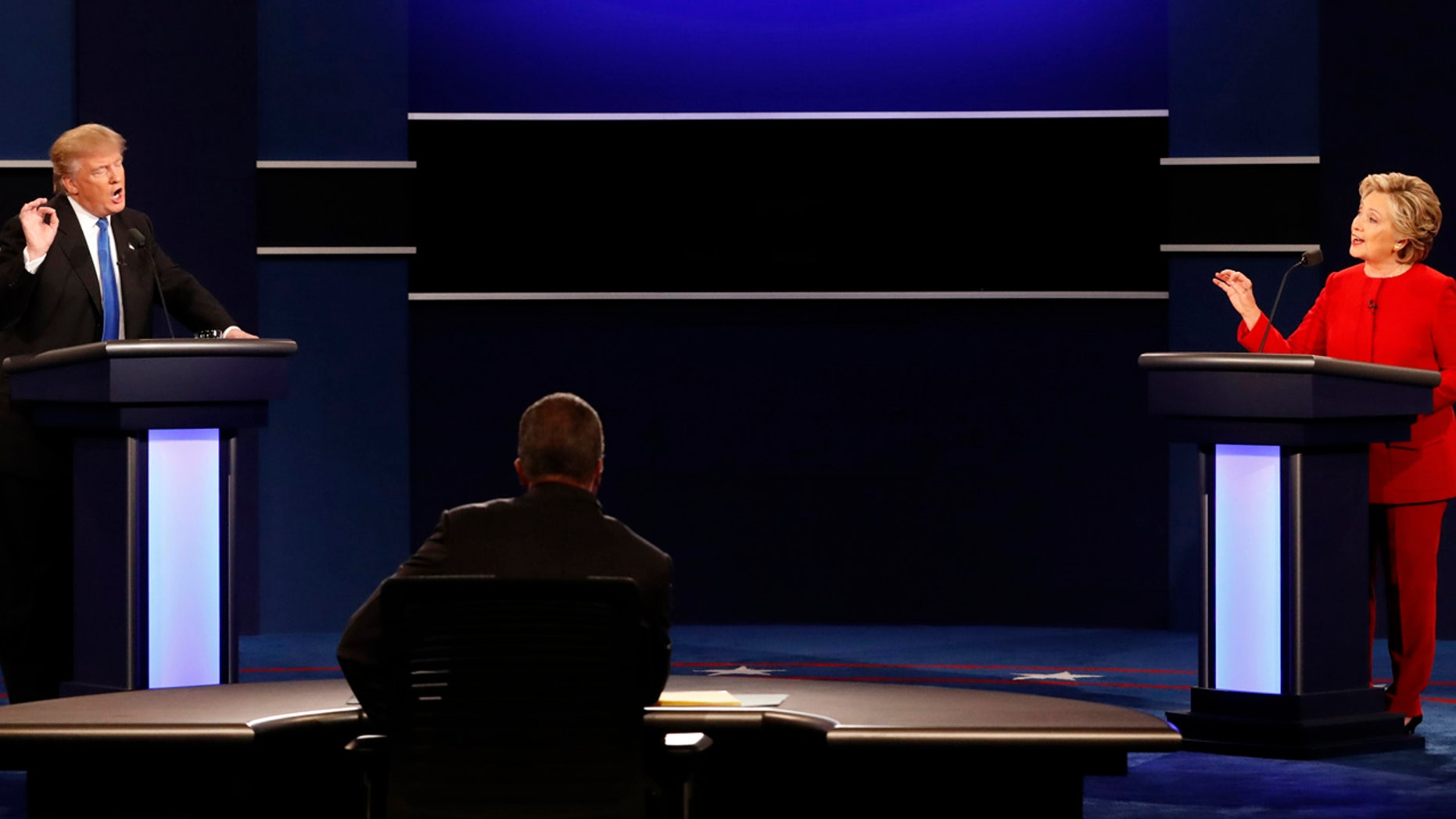 Sept. 26, 2016: Presidential nominees Donald Trump (R) and Hillary Clinton (R) at first presidential debate, Hofstra University, Hempstead, N.Y. (REUTERS)