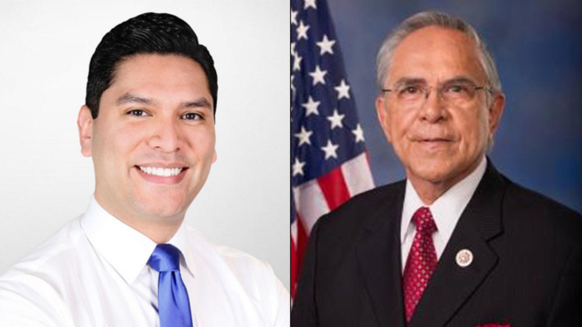 At left, House candidate Ruben Ramirez Hinojosa; at right, Rep. Ruben Hinojosa. (Ruben4congress.com/House.gov)