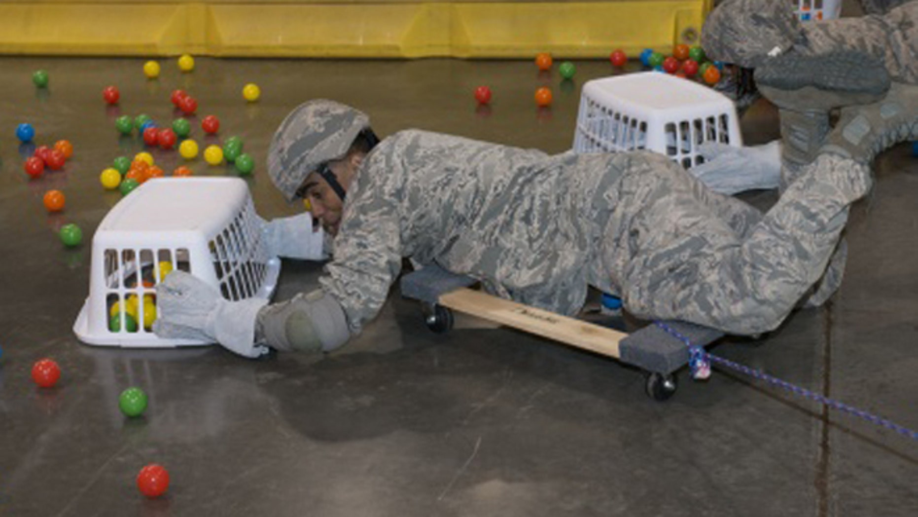 """Airmen played a child's game as part of a """"team-building"""" exercise. (Washington Free Beacon)"""