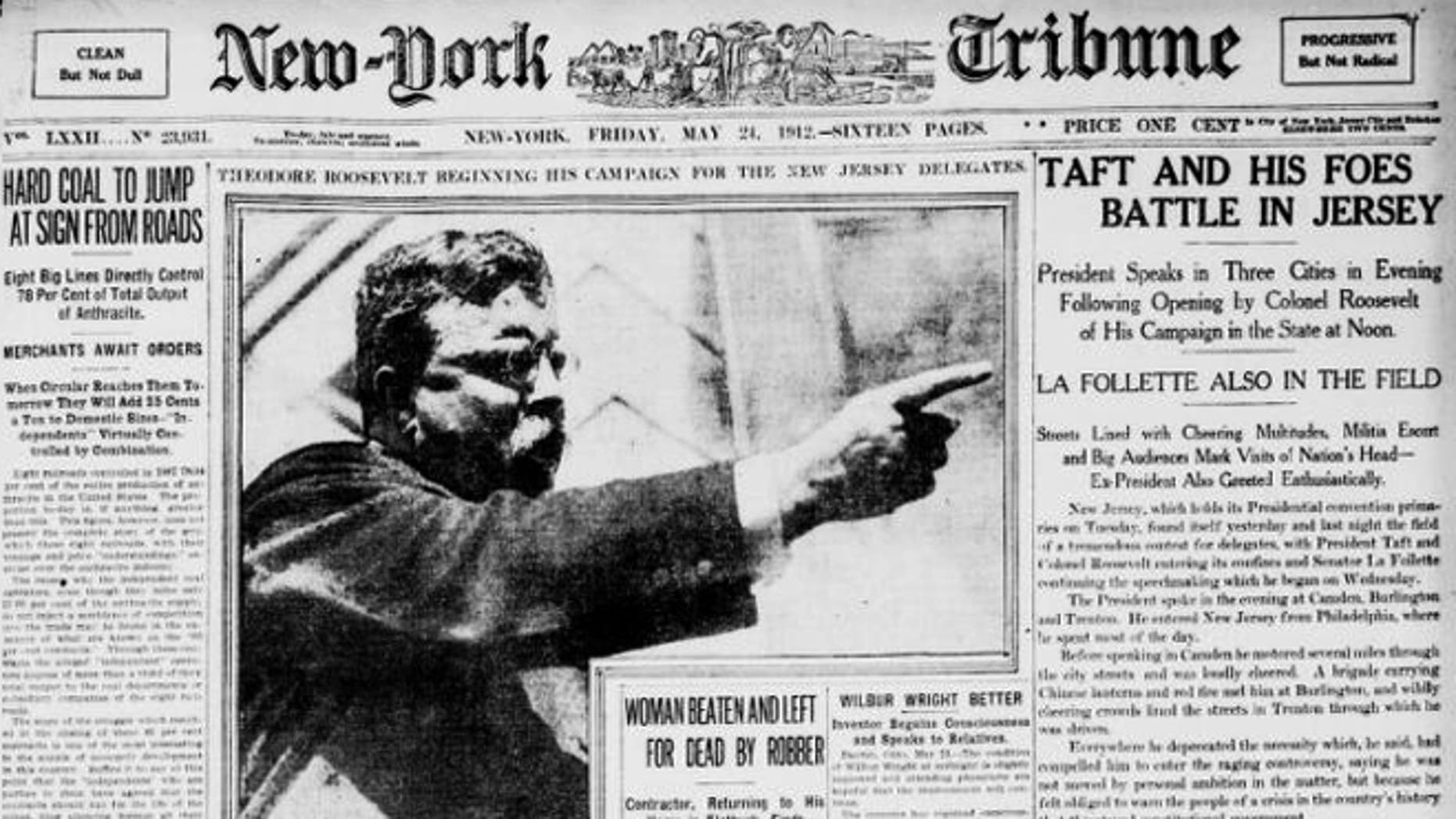 The May 24, 1912 New-York Tribune said Teddy Roosevelt was beginning a campaign for office.