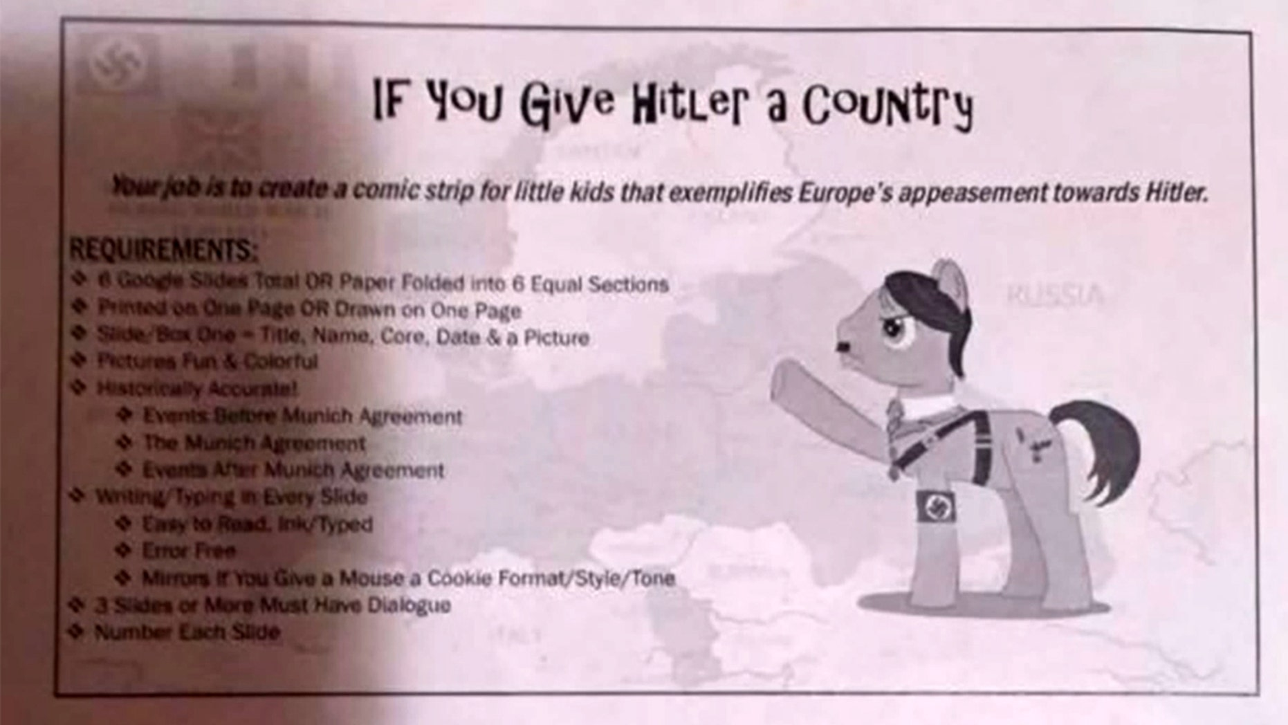 Some parents were upset after middle school students received an Adolph Hitler-themed homework assignment.