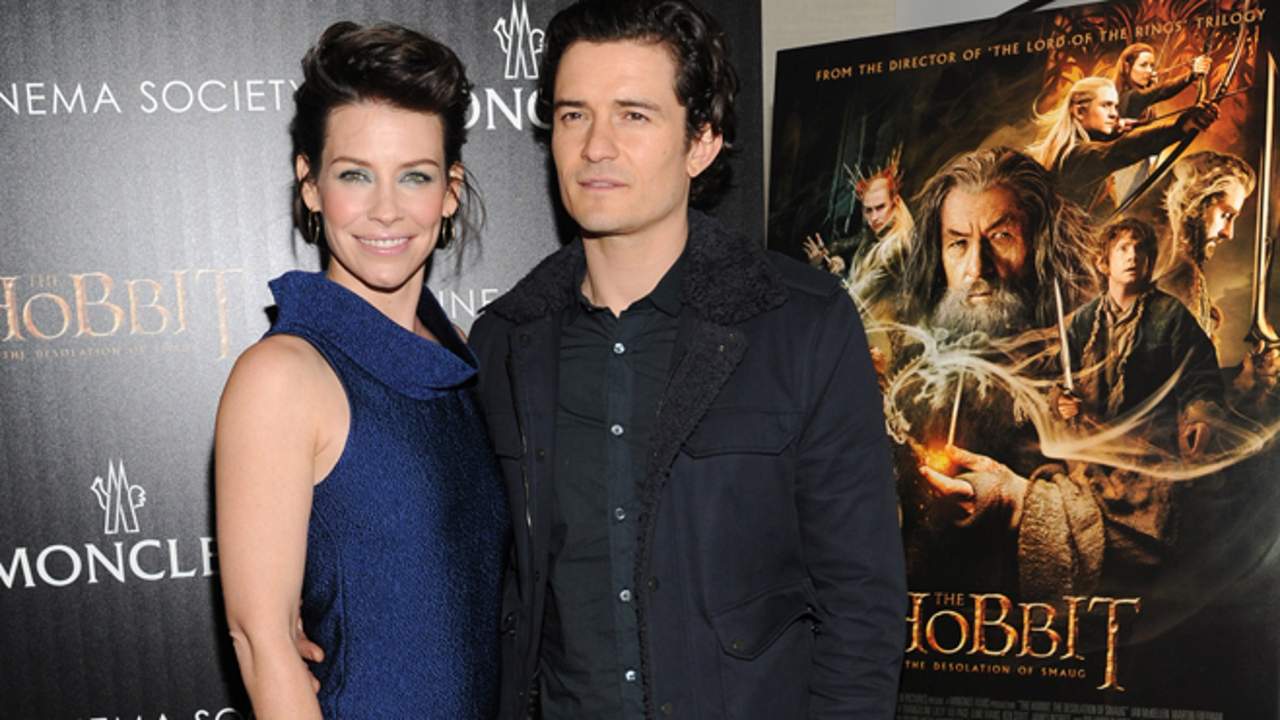 """Dec. 11, 2013: Actors Evangeline Lilly and Orlando Bloom attend a special screening of """"The Hobbit: The Desolation of Smaug"""" hosted by New Line Cinema and Metro-Goldwyn-Mayer Pictures with The Cinema Society in New York."""