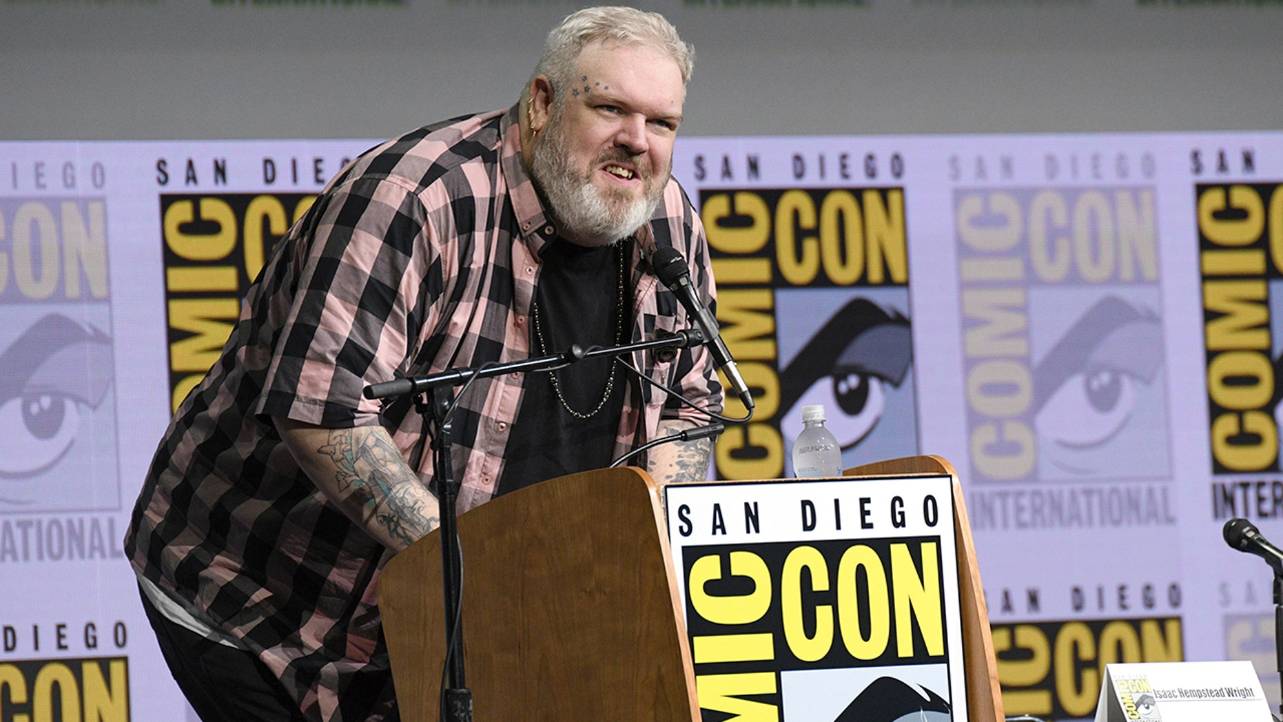 """Moderator Kristian Nairn speaks at the """"Game of Thrones"""" panel on day two of Comic-Con International on Friday, July 21, 2017, in San Diego. (Photo by Al Powers/Invision/AP)"""