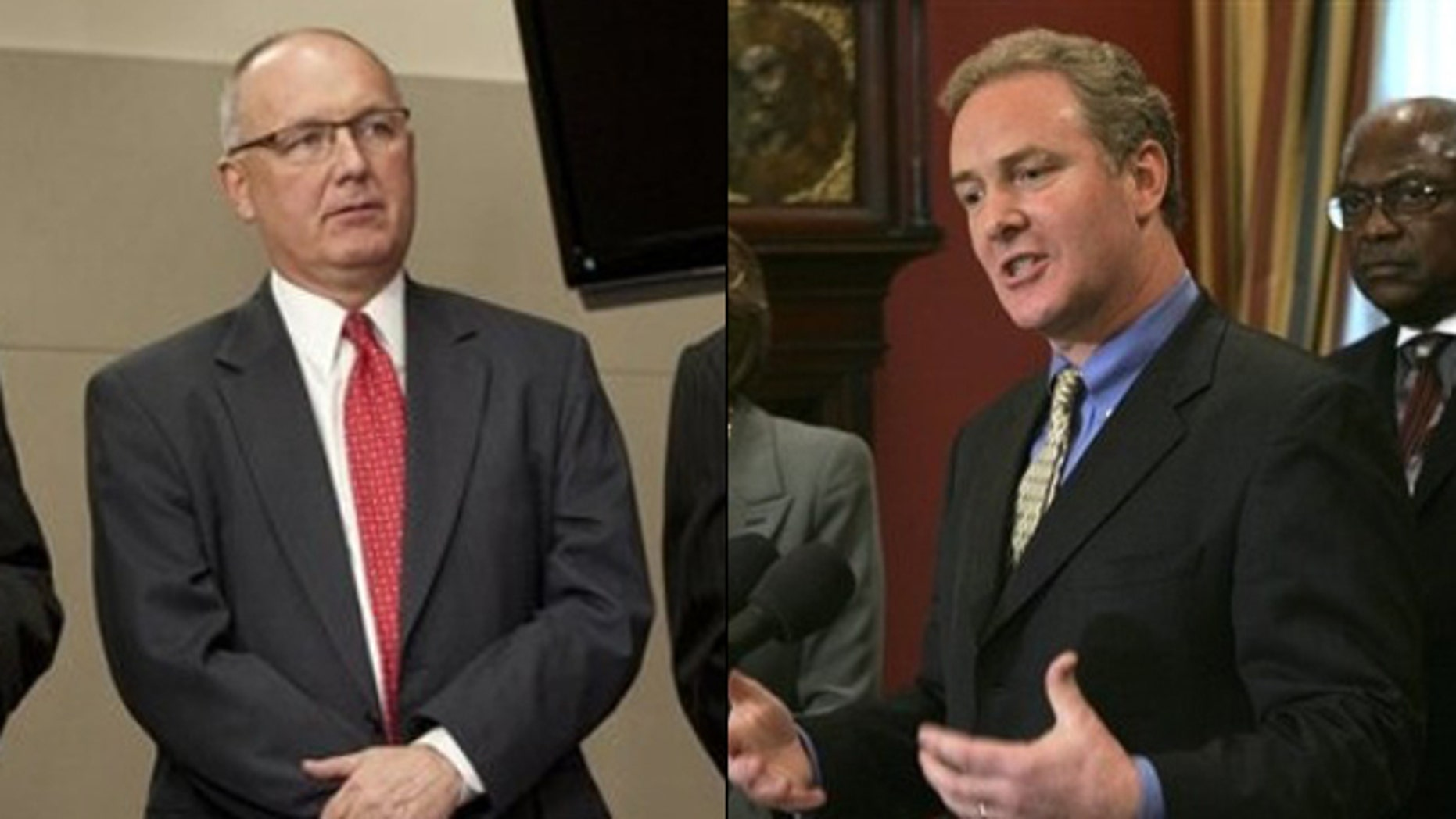 Shown here are Republican Rep. Pete Hoekstra, left, and Democratic Rep. Chris Van Hollen. (AP Photos)