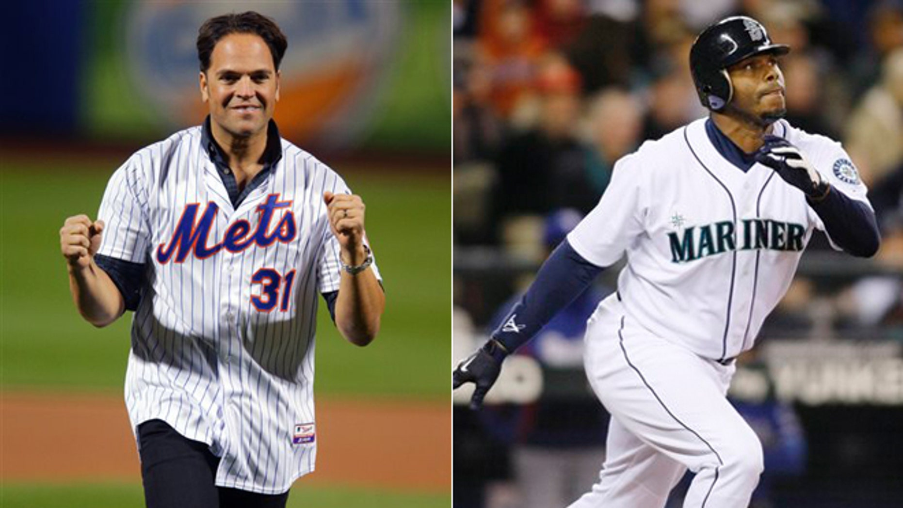 Former New York Mets' Mike Piazza and former Seattle Mariners' Ken Griffey Jr.
