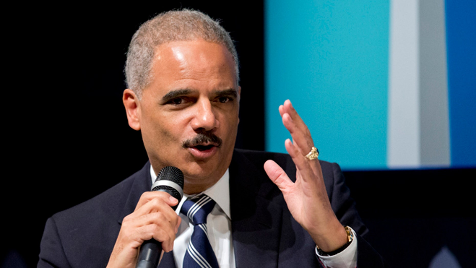 Oct. 29, 2014: Attorney General Eric Holder speaks at the 'Washington Ideas Forum' in Washington.