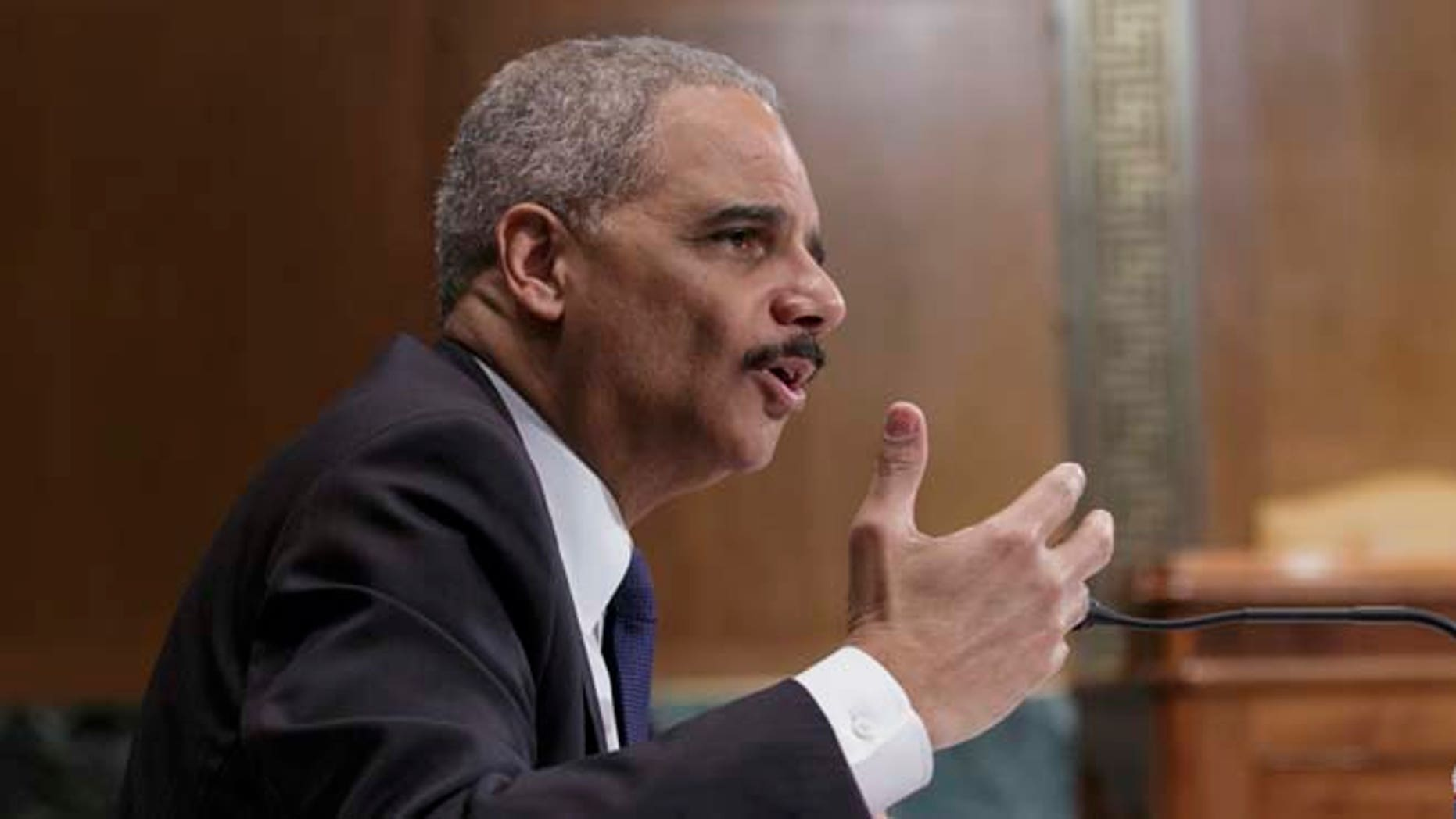April 3, 2014: Attorney General Eric Holder testifies on Capitol Hill in Washington.