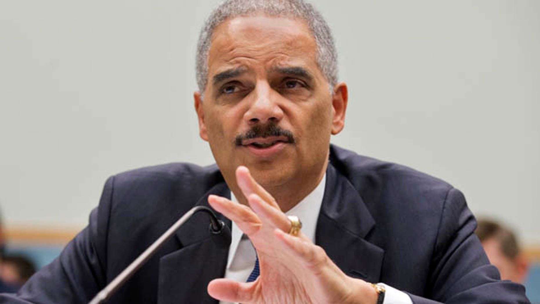 April 8, 2014: Attorney General Eric Holder testifies on Capitol Hill in Washington.