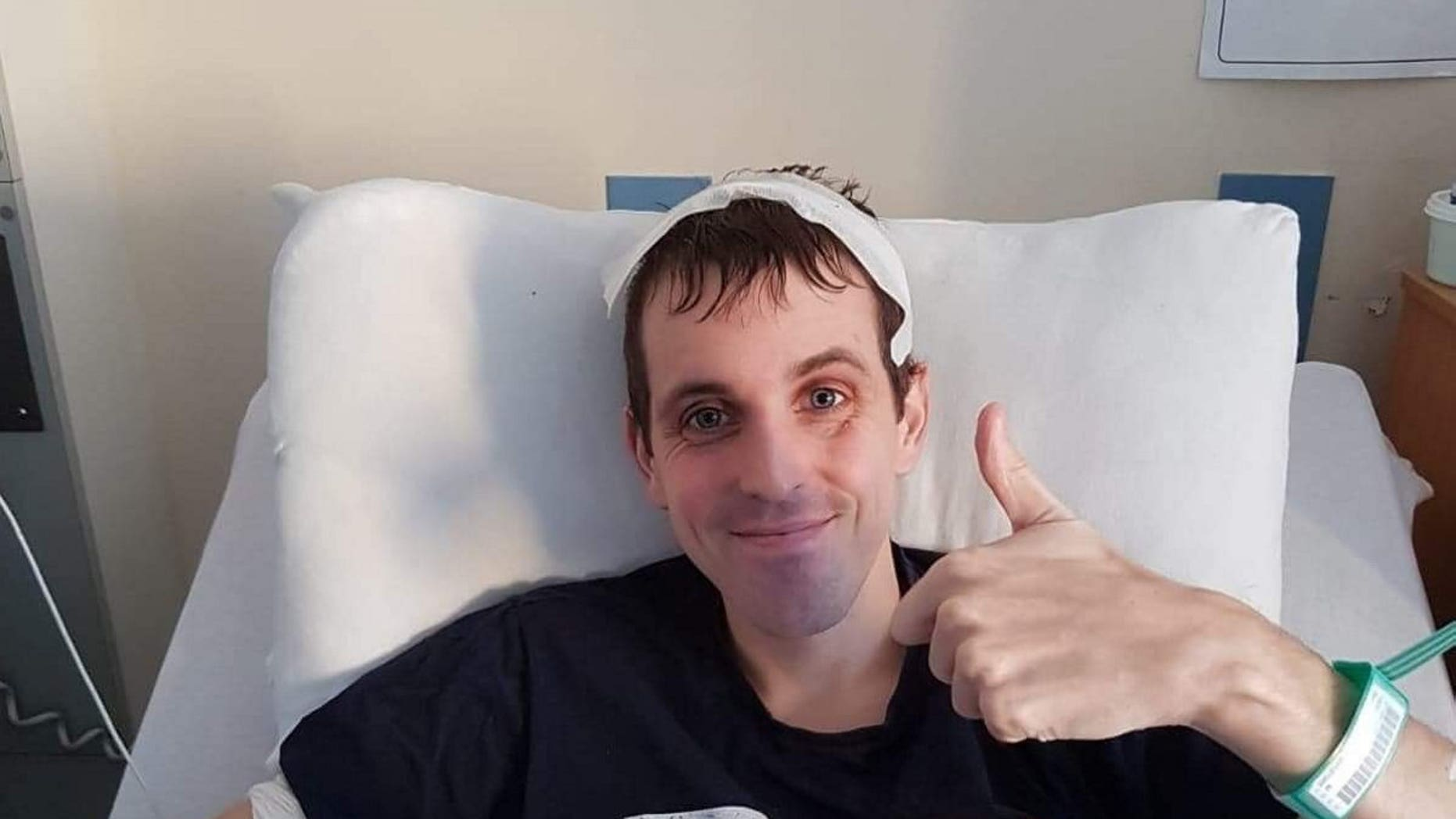 Collect of Barry Reid, 32, from Ayr, at Glasgow's Queen Elizabeth Hospital. Mr Reid collapsed at Universal's Volcano Bay Park in Florida while queuing to go on a waterslide- leading to the discovery of a brain tumour.. See Centre Press story CPTUMOUR . A dad-of-two has spoken of his holiday horror after he was diagnosed with a brain tumour during a dream family trip to Florida.Barry Reid, his wife Gillian and their two young daughters, along with his in-laws, jetted off to their dream vacation last October. But twelve days into their holiday Barry took a turn for the worst and collapsed at Universal's Volcano Bay Park while queuing to go on a waterslide. When the 32-year-old woke up, he found himself in an ambulance heading to a local A&E wired up to a host of machines.