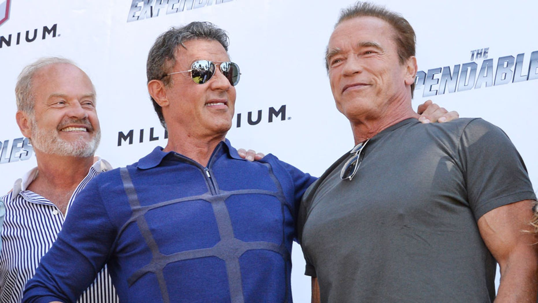 Kelsey Grammer, Sylvester Stallone and Arnold Schwarzenegger who all signed a Hollywood anti-Hamas statement.